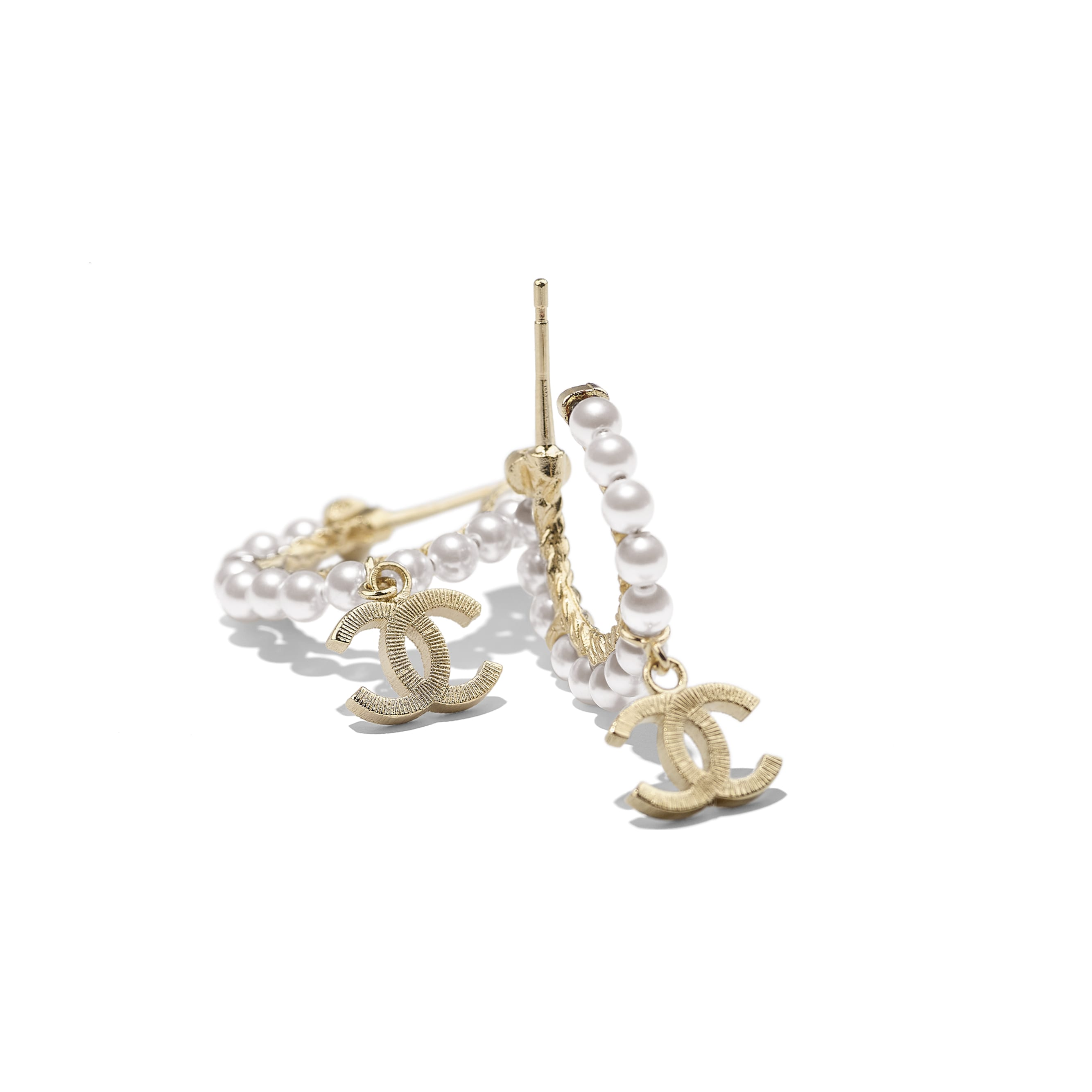 Earrings - Gold & Pearly White - Metal & Glass Pearls - Alternative view - see standard sized version