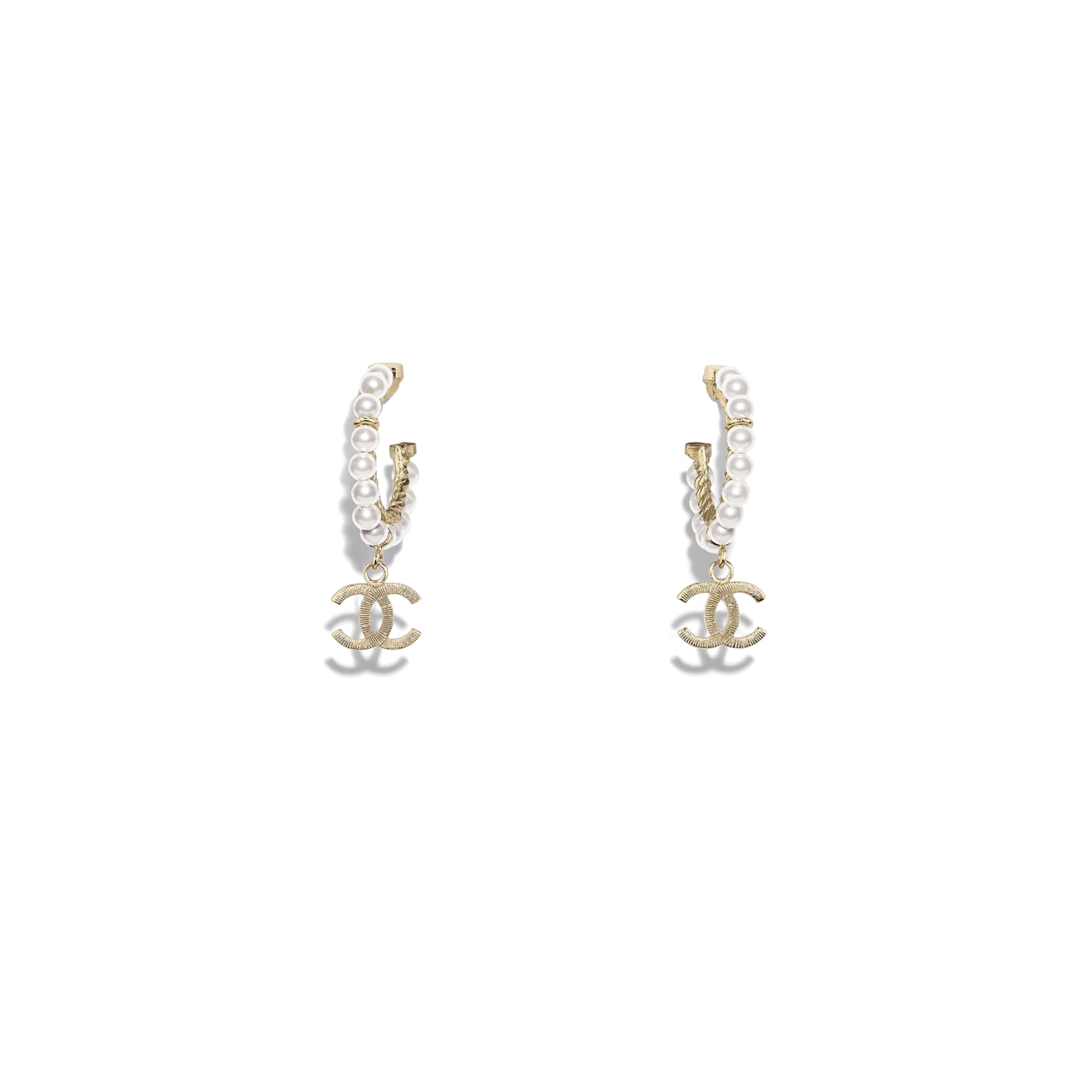 Earrings - Gold & Pearly White - Metal & Glass Pearls - Default view - see standard sized version