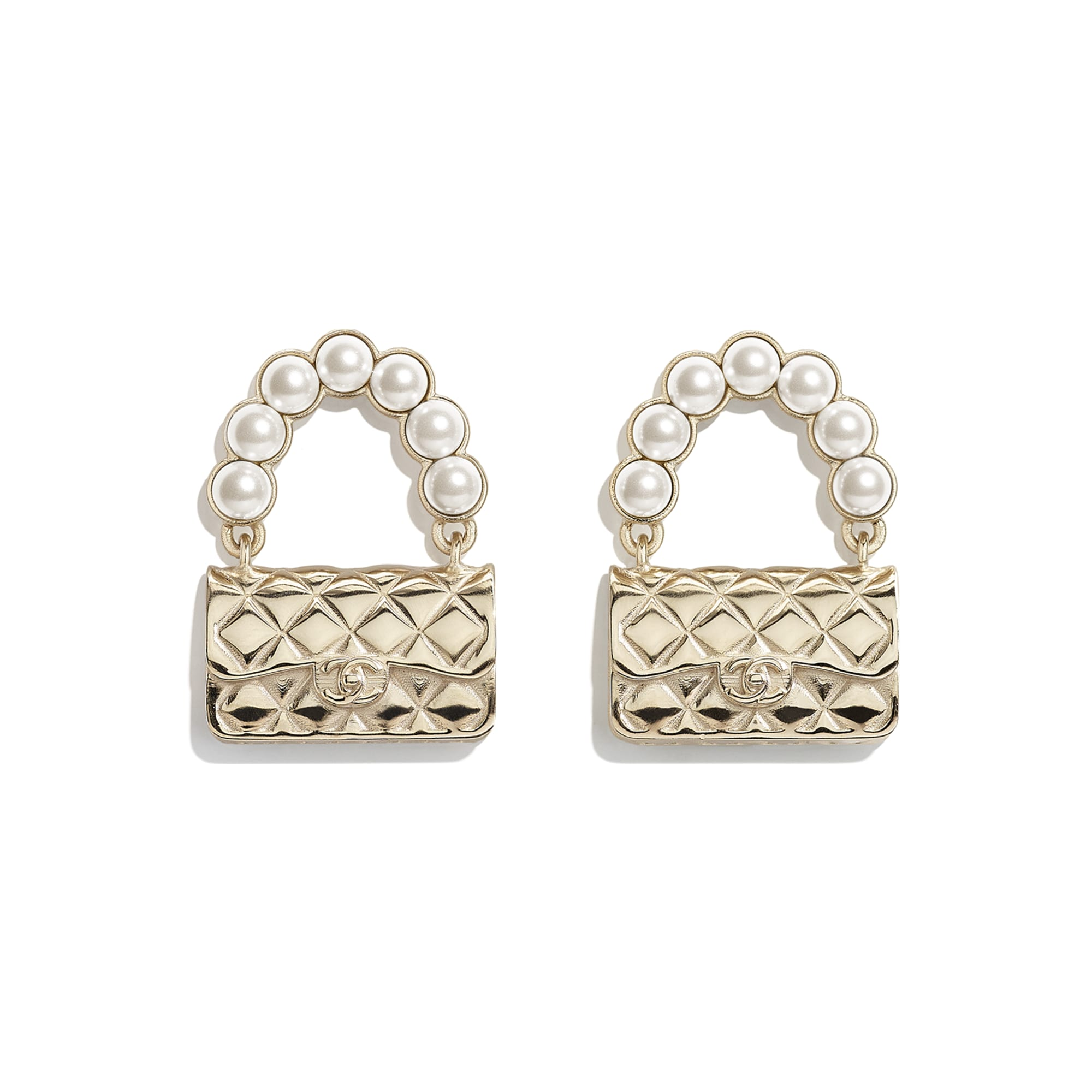 Earrings - Gold & Pearly White - Metal & Glass Pearls - CHANEL - Default view - see standard sized version