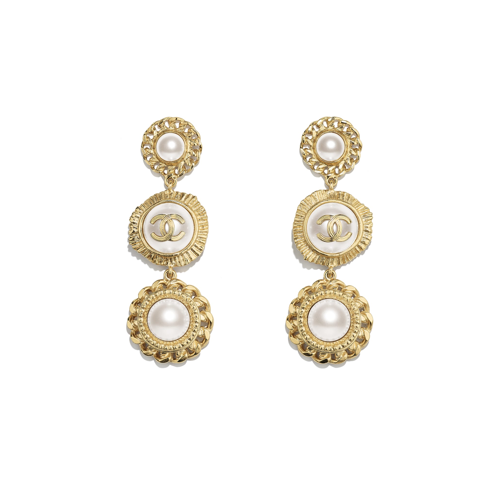 Earrings - Gold & Pearly White - Metal, Glass Pearls & Resin - Default view - see standard sized version
