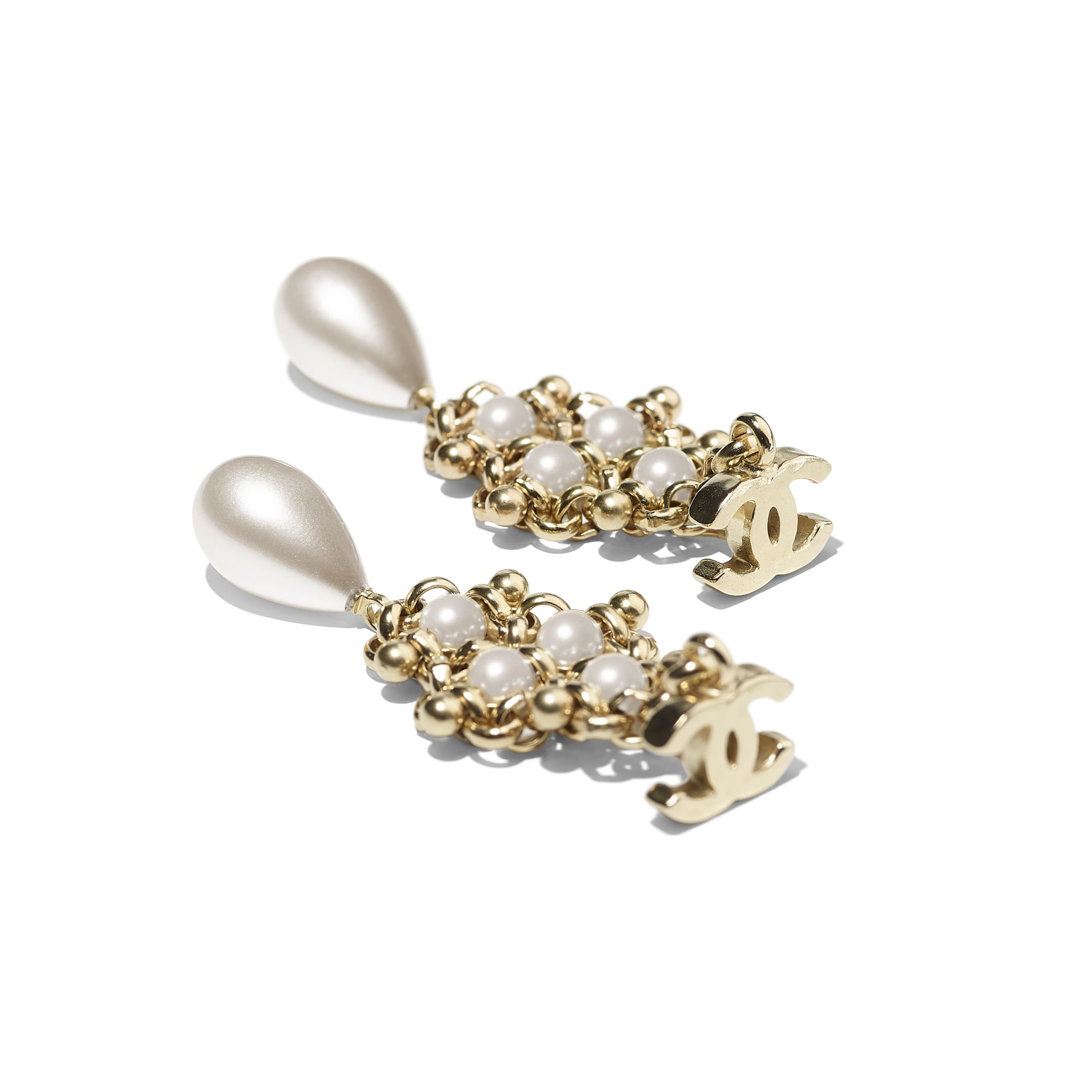 Earrings - Gold & Pearly White - Metal & Imitation Pearls - Alternative view - see standard sized version