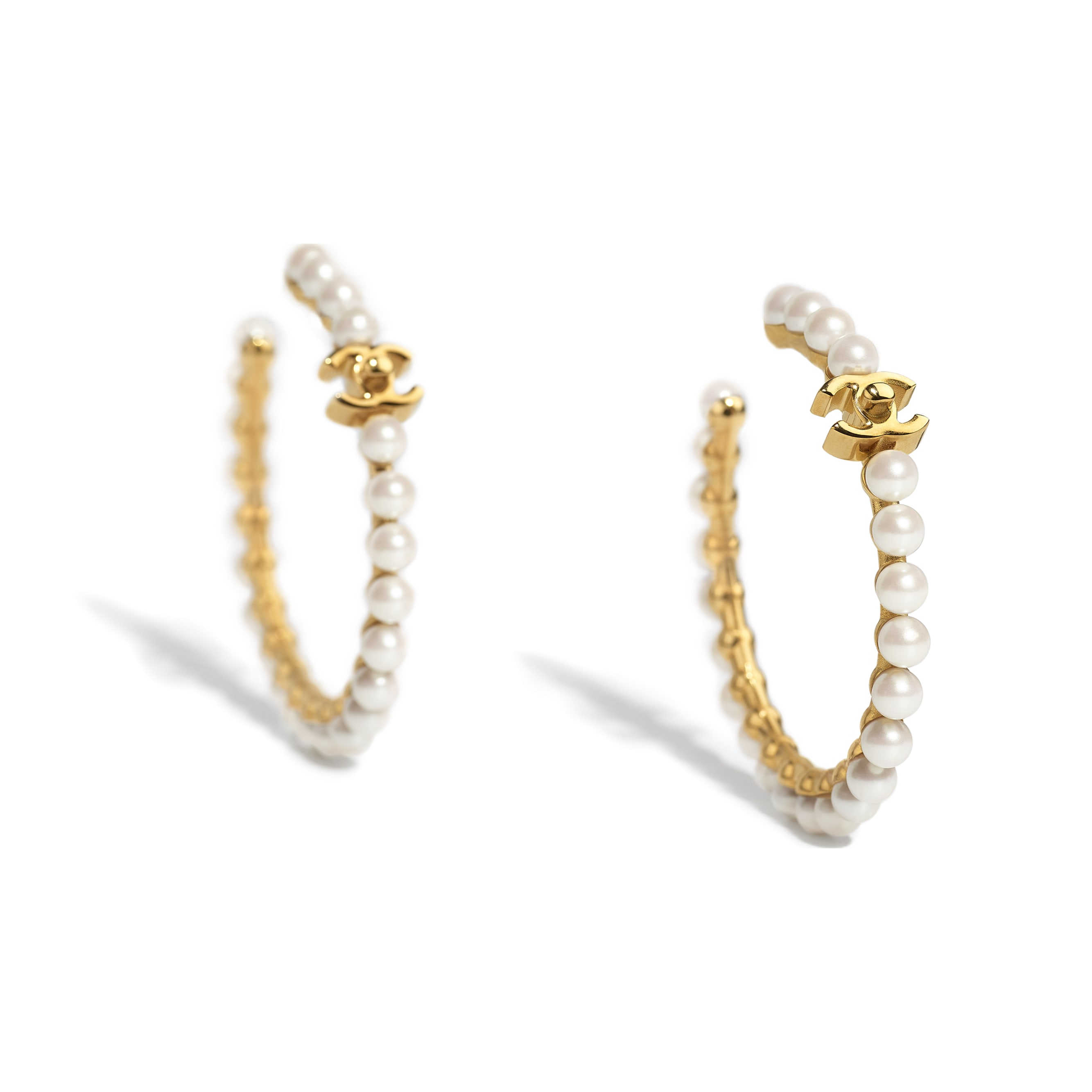 Earrings - Gold & Pearly White - Metal & Imitation Pearls - CHANEL - Alternative view - see standard sized version