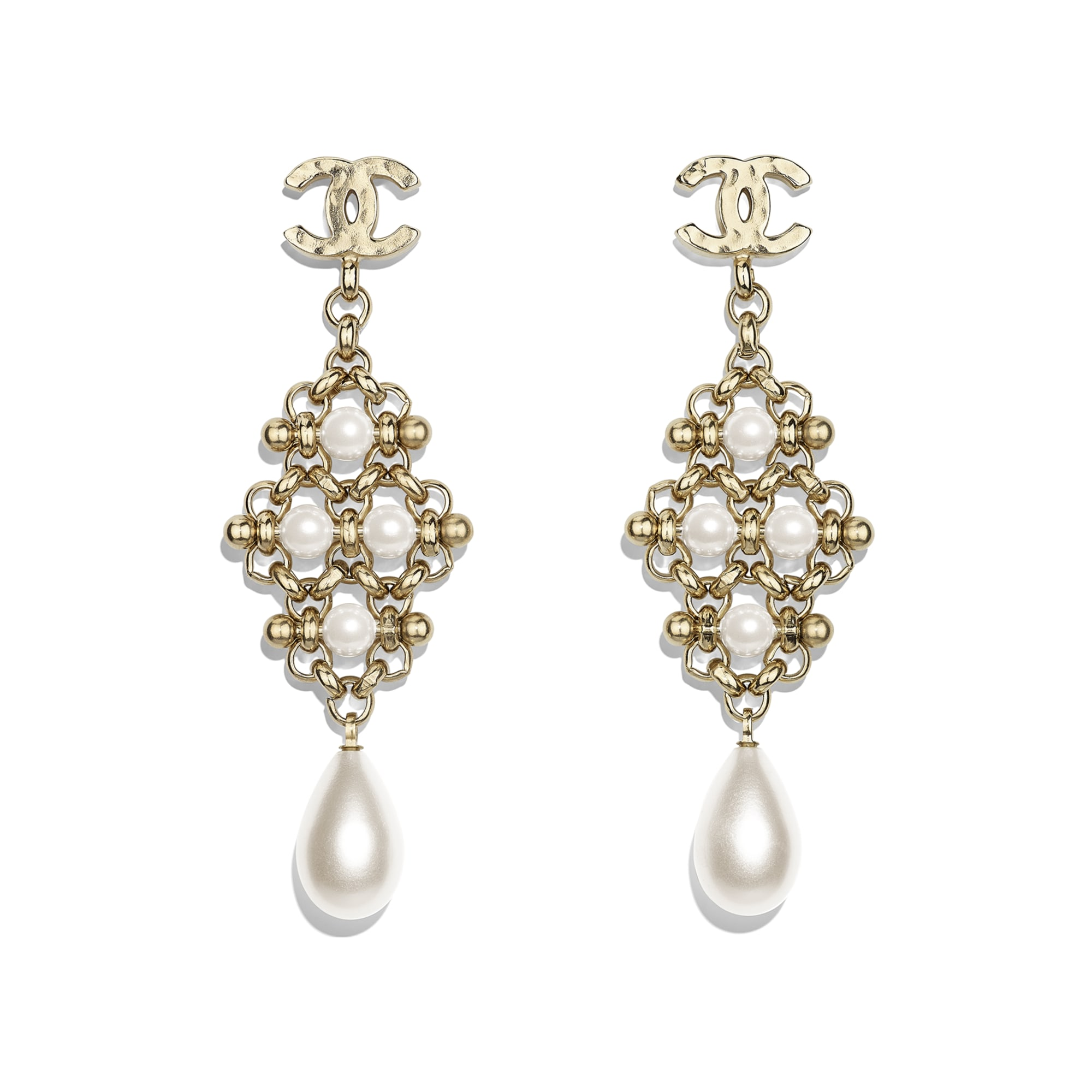 Earrings - Gold & Pearly White - Metal & Imitation Pearls - Default view - see standard sized version