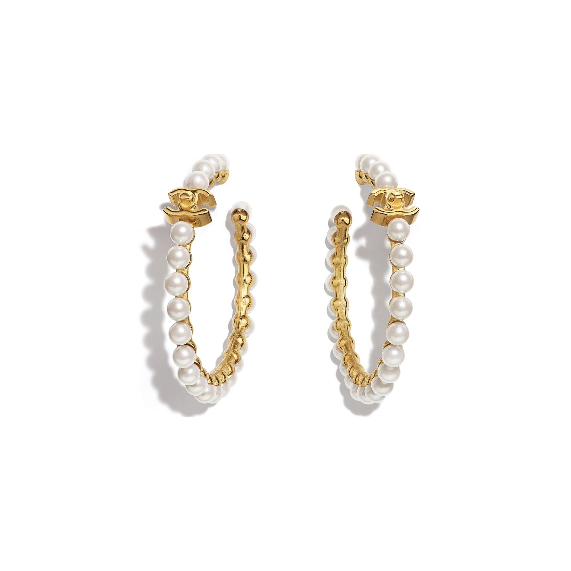 Earrings - Gold & Pearly White - Metal & Imitation Pearls - CHANEL - Default view - see standard sized version