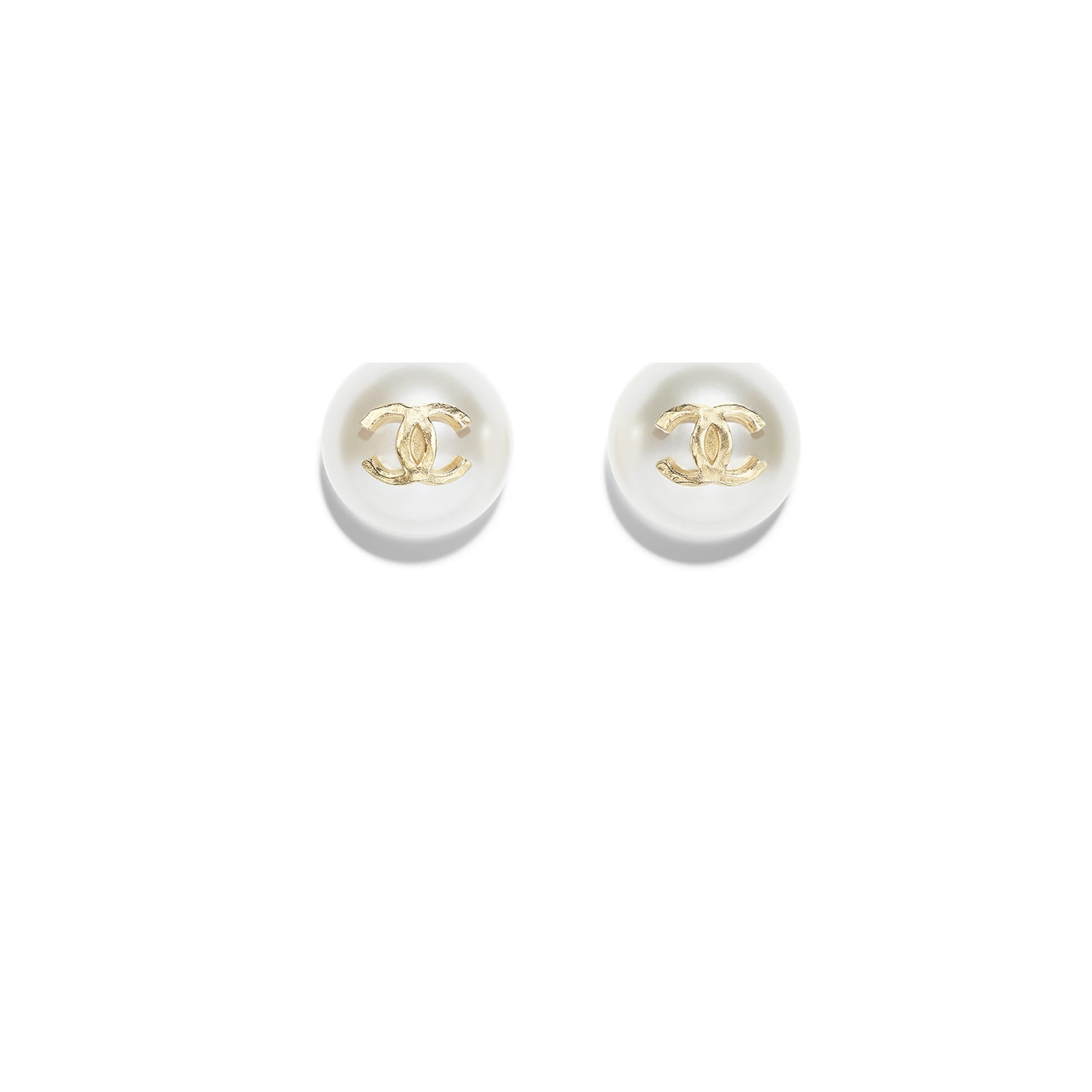 Earrings - Gold & Pearly White - Metal & Resin - Default view - see standard sized version