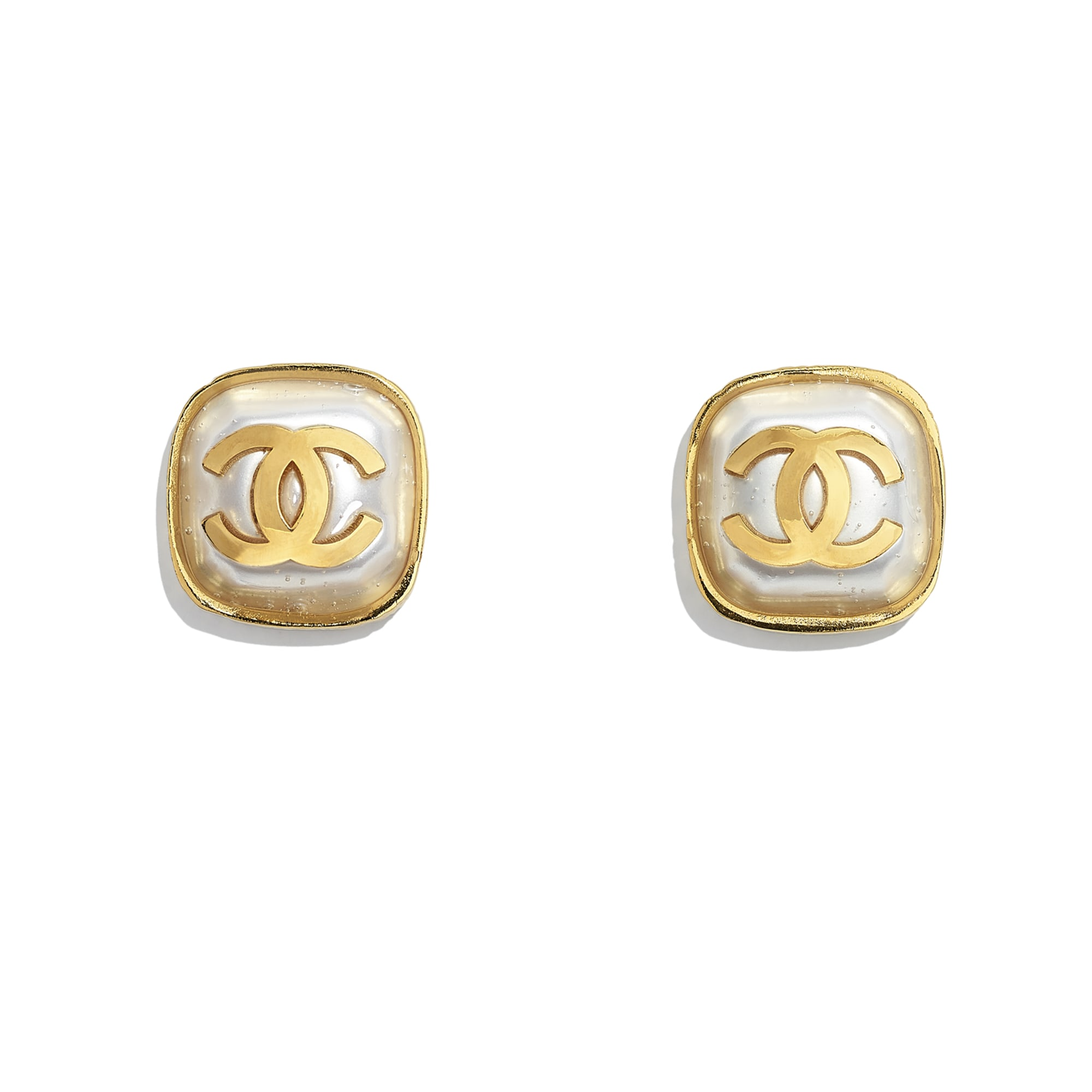 Earrings - Gold & Pearly White - Metal & Resin - CHANEL - Default view - see standard sized version