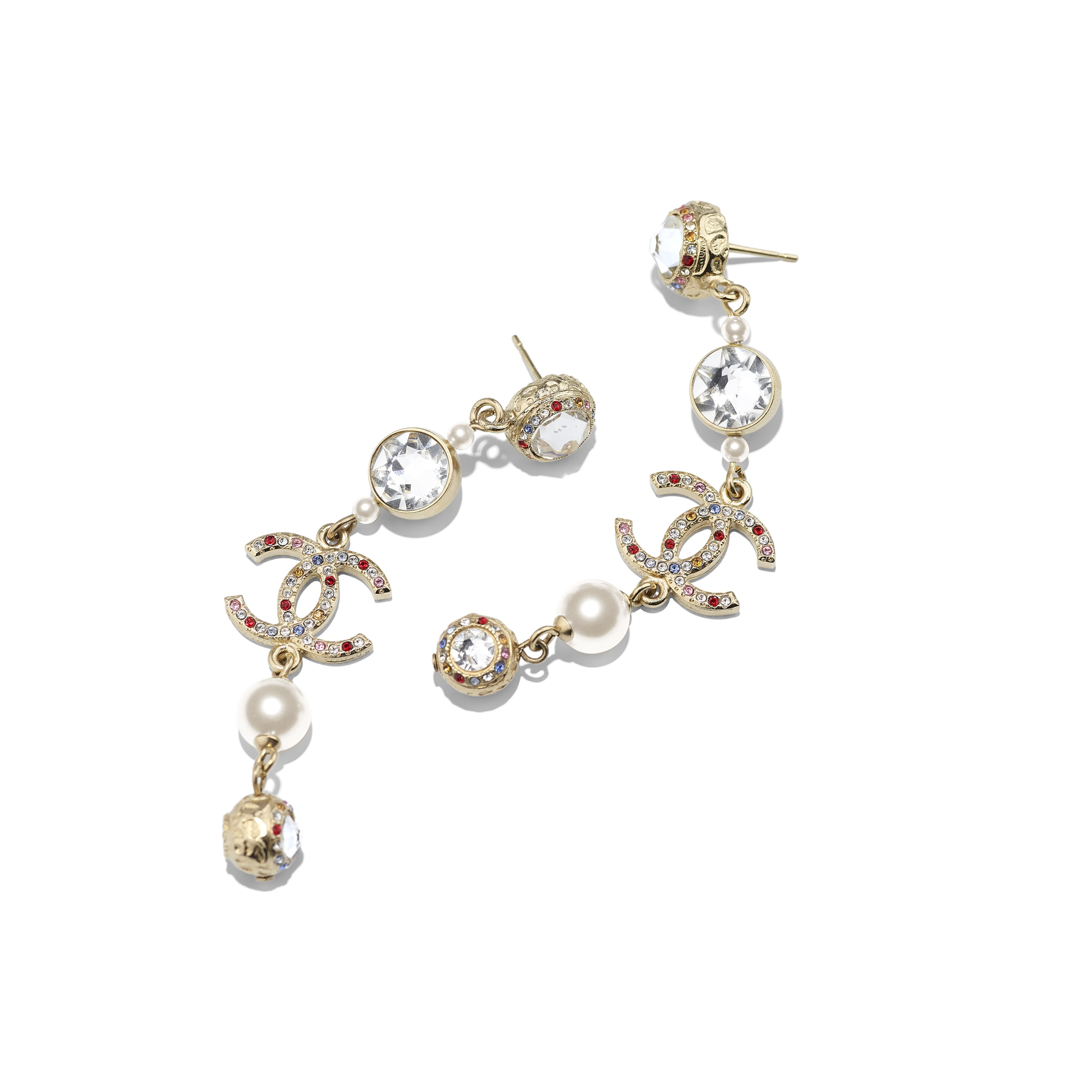 Earrings -  Gold, Pearly White, Multicolour & Crystal - Metal, Glass Pearls & Diamantés - CHANEL - Alternative view - see standard sized version