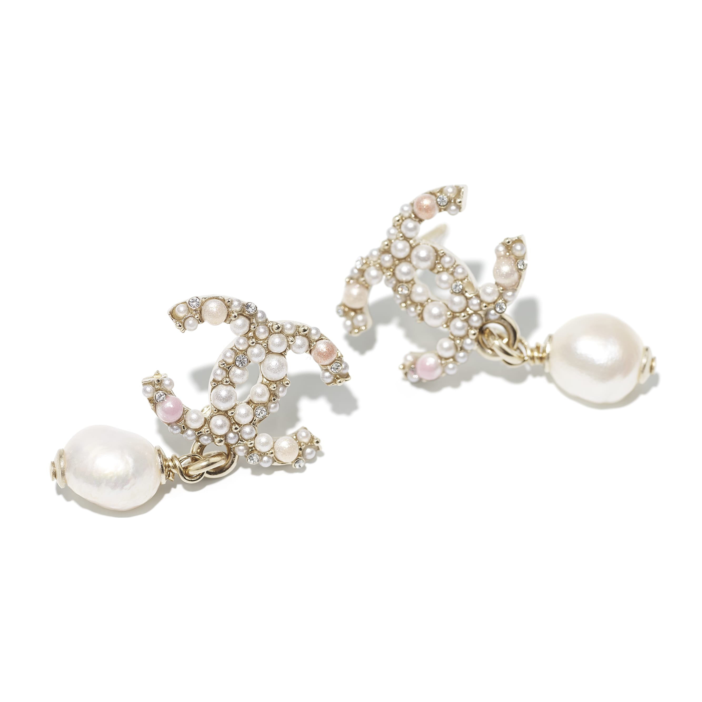 Earrings - Gold, Pearly White, Pink & Crystal - Metal, Cultured Freshwater Pearls, Glass Pearls & Strass - CHANEL - Alternative view - see standard sized version