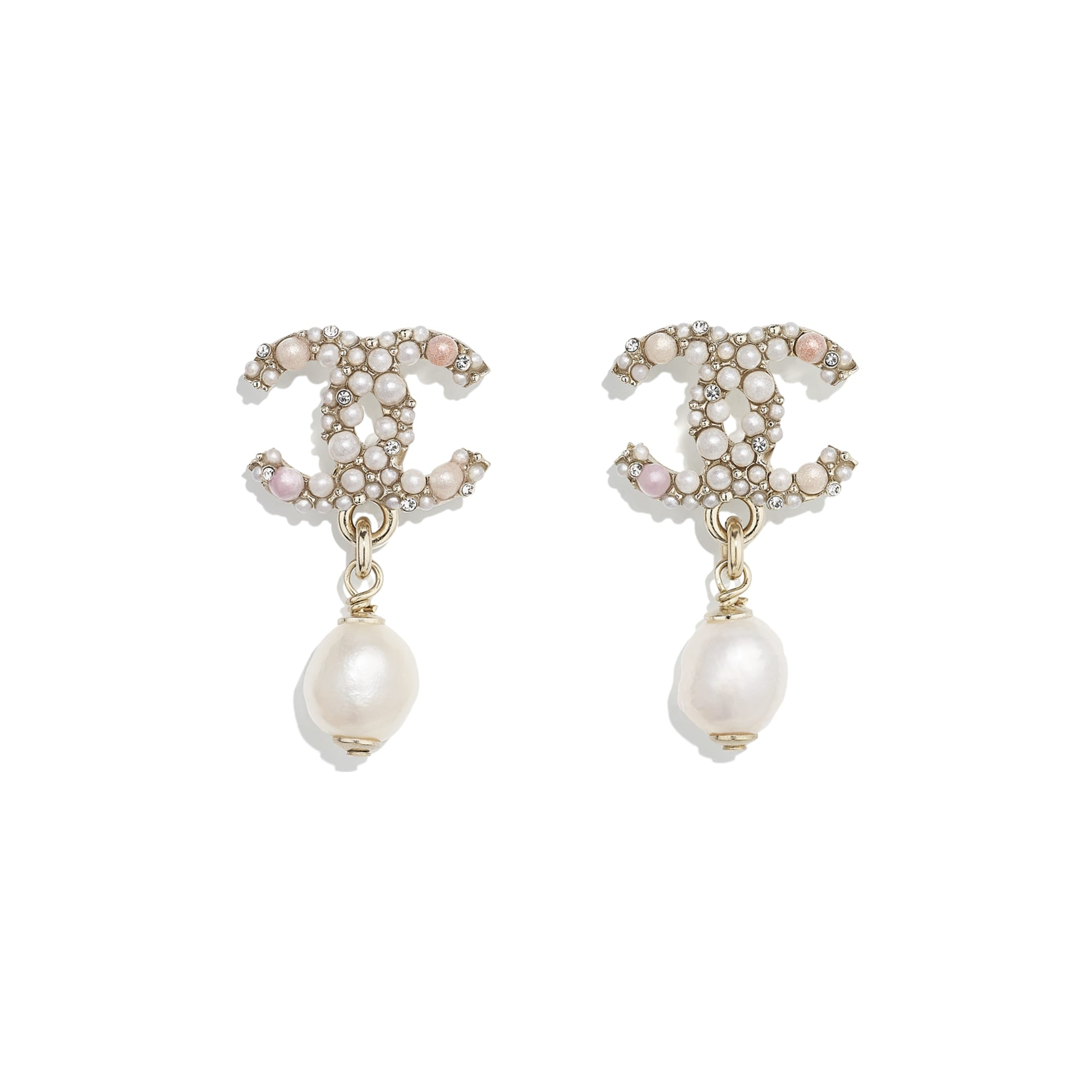 Earrings - Gold, Pearly White, Pink & Crystal - Metal, Cultured Freshwater Pearls, Glass Pearls & Strass - CHANEL - Default view - see standard sized version