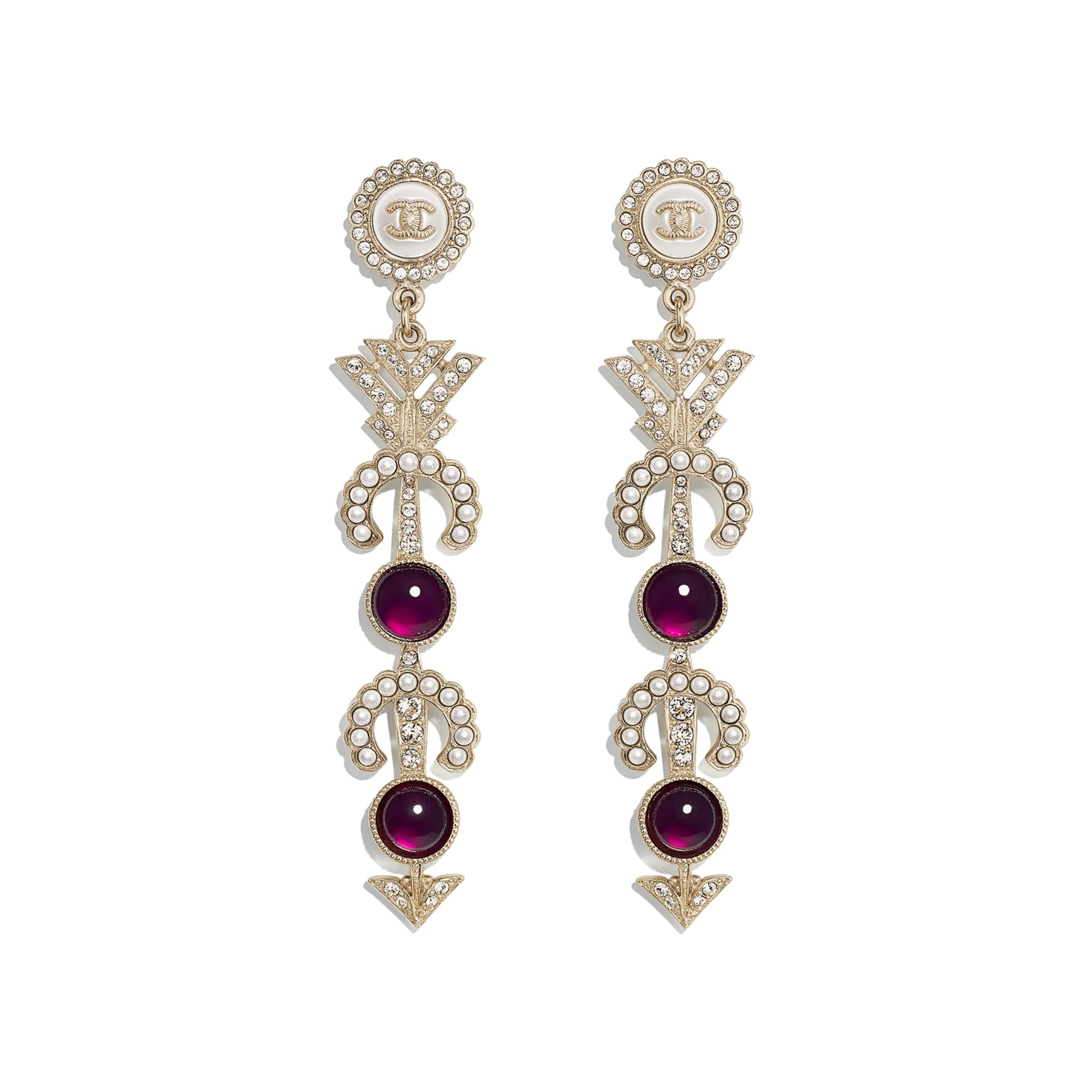 Earrings - Gold, Pearly White, Red & Crystal - Metal, Glass Pearls, Imitation Pearls & Strass - CHANEL - Default view - see standard sized version