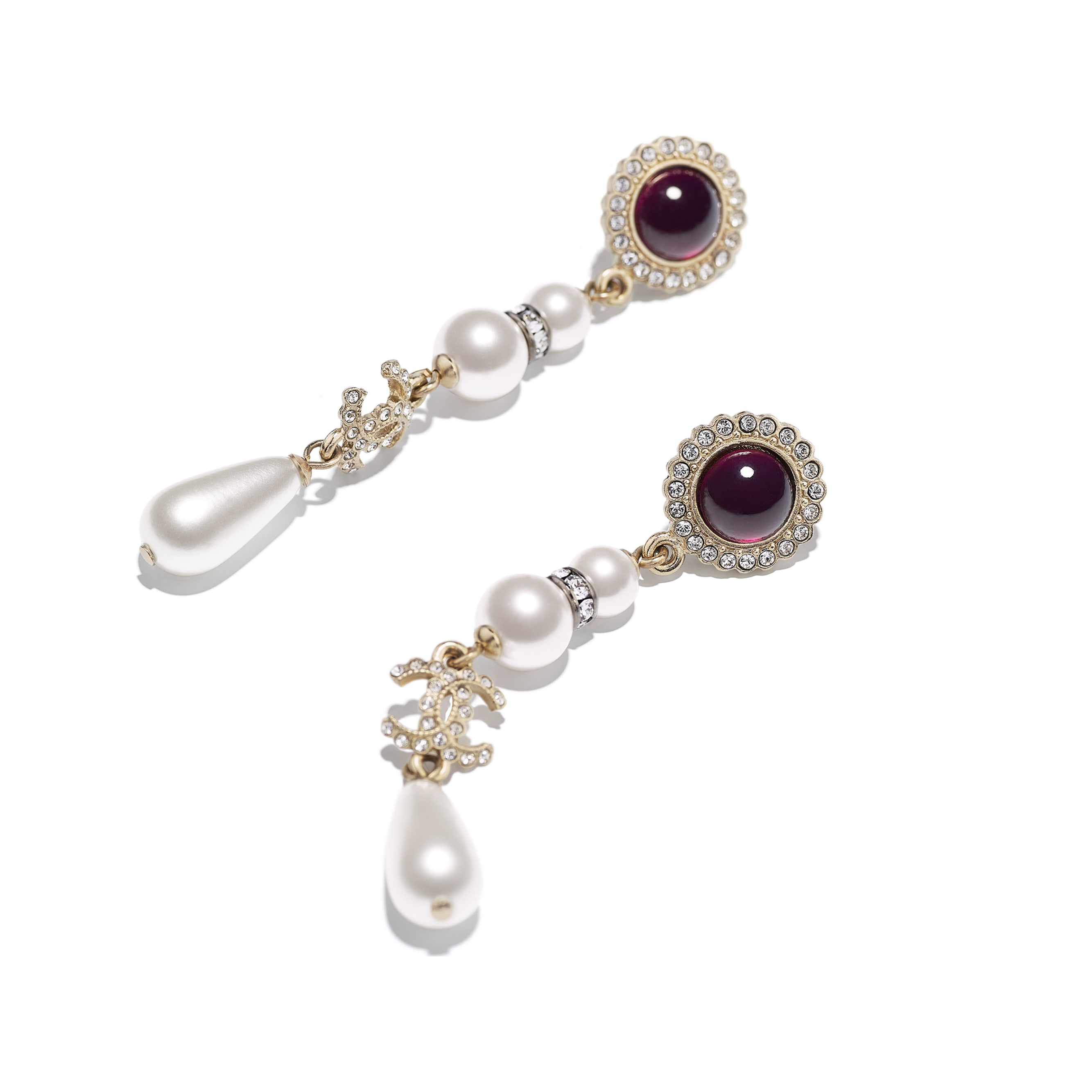 Earrings - Gold, Pearly White, Red & Crystal - Metal, Glass Pearls & Diamantés - Alternative view - see standard sized version