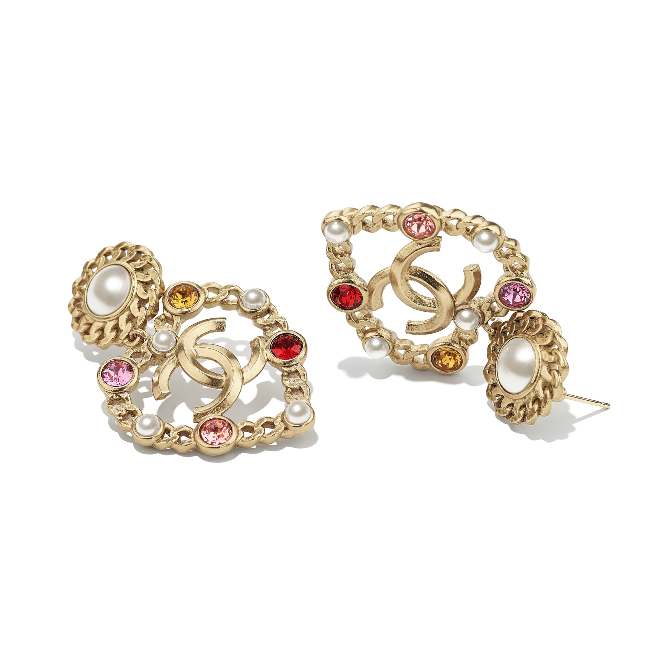 Earrings - Gold, Pearly White, Red, Pink & Yellow - Metal, Glass Pearls, Imitation Pearls & Diamanté - CHANEL - Alternative view - see standard sized version