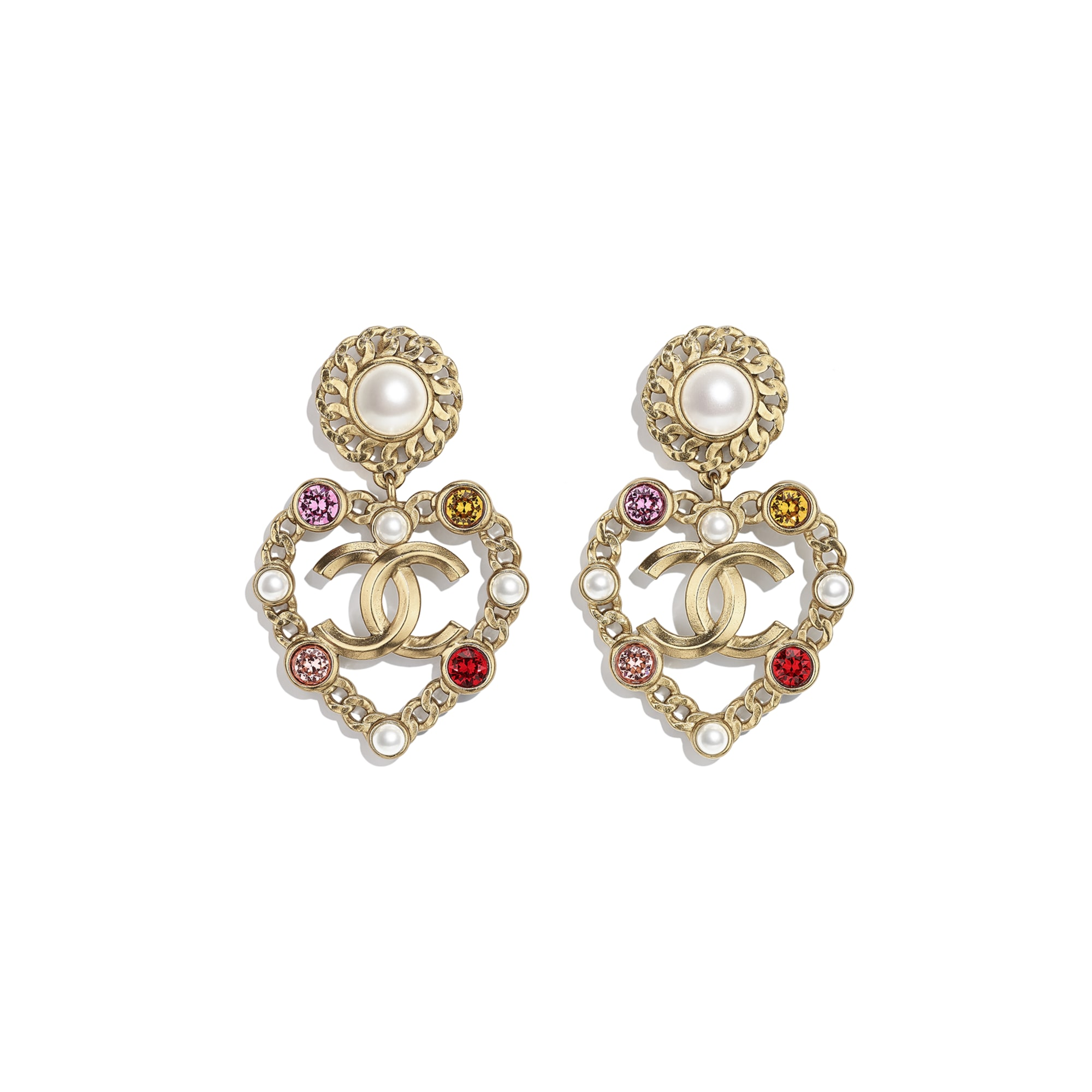 Earrings - Gold, Pearly White, Red, Pink & Yellow - Metal, Glass Pearls, Imitation Pearls & Diamanté - CHANEL - Default view - see standard sized version