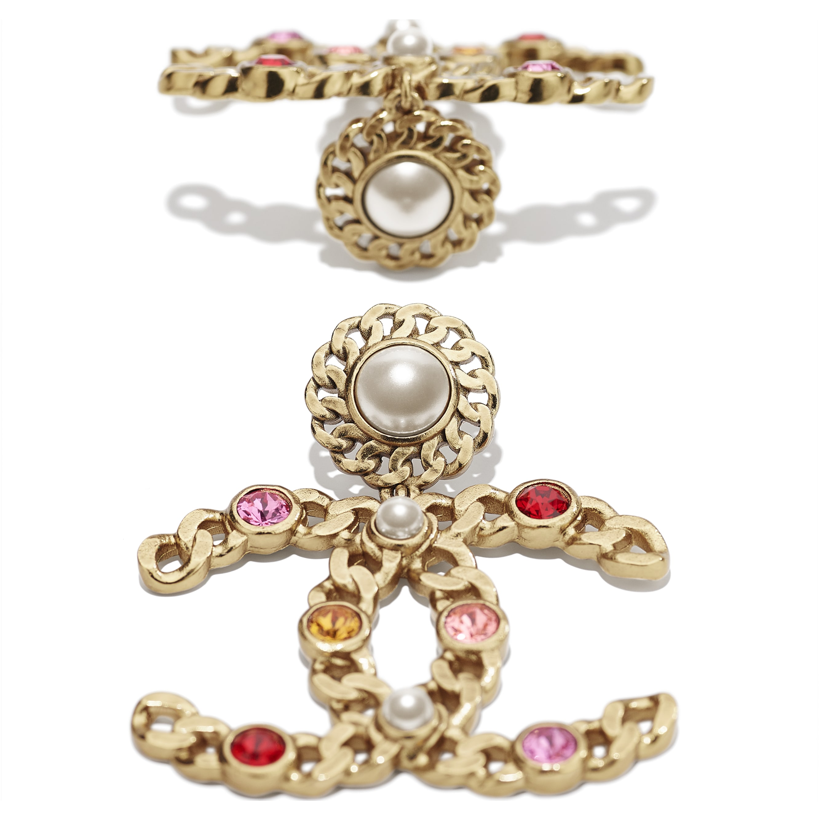 Earrings - Gold, Pearly White, Red, Pink & Yellow - Metal, Glass Pearls & Diamantés - CHANEL - Alternative view - see standard sized version
