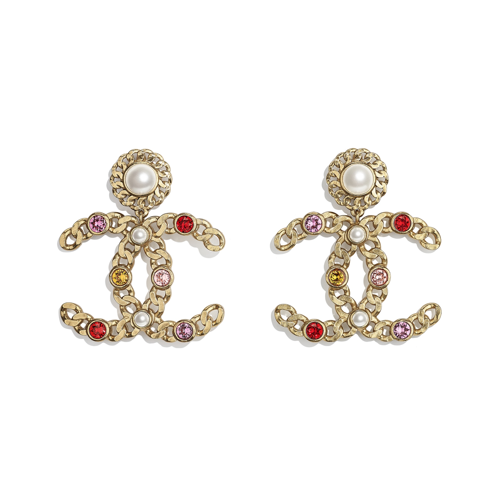 Earrings - Gold, Pearly White, Red, Pink & Yellow - Metal, Glass Pearls & Diamantés - CHANEL - Default view - see standard sized version