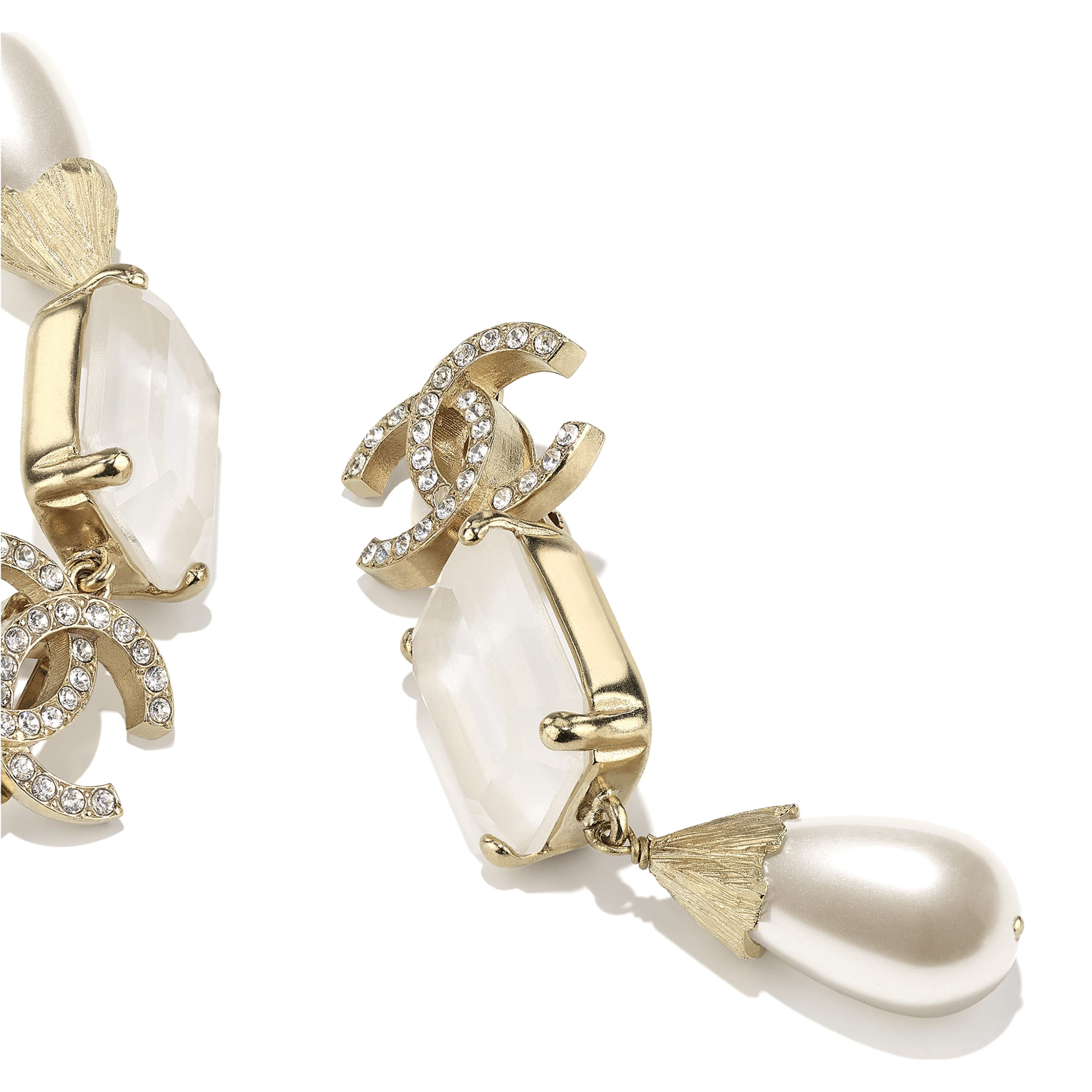Earrings - Gold, Pearly White, White & Crystal - Metal, Imitation Pearls & Diamanté - CHANEL - Alternative view - see standard sized version