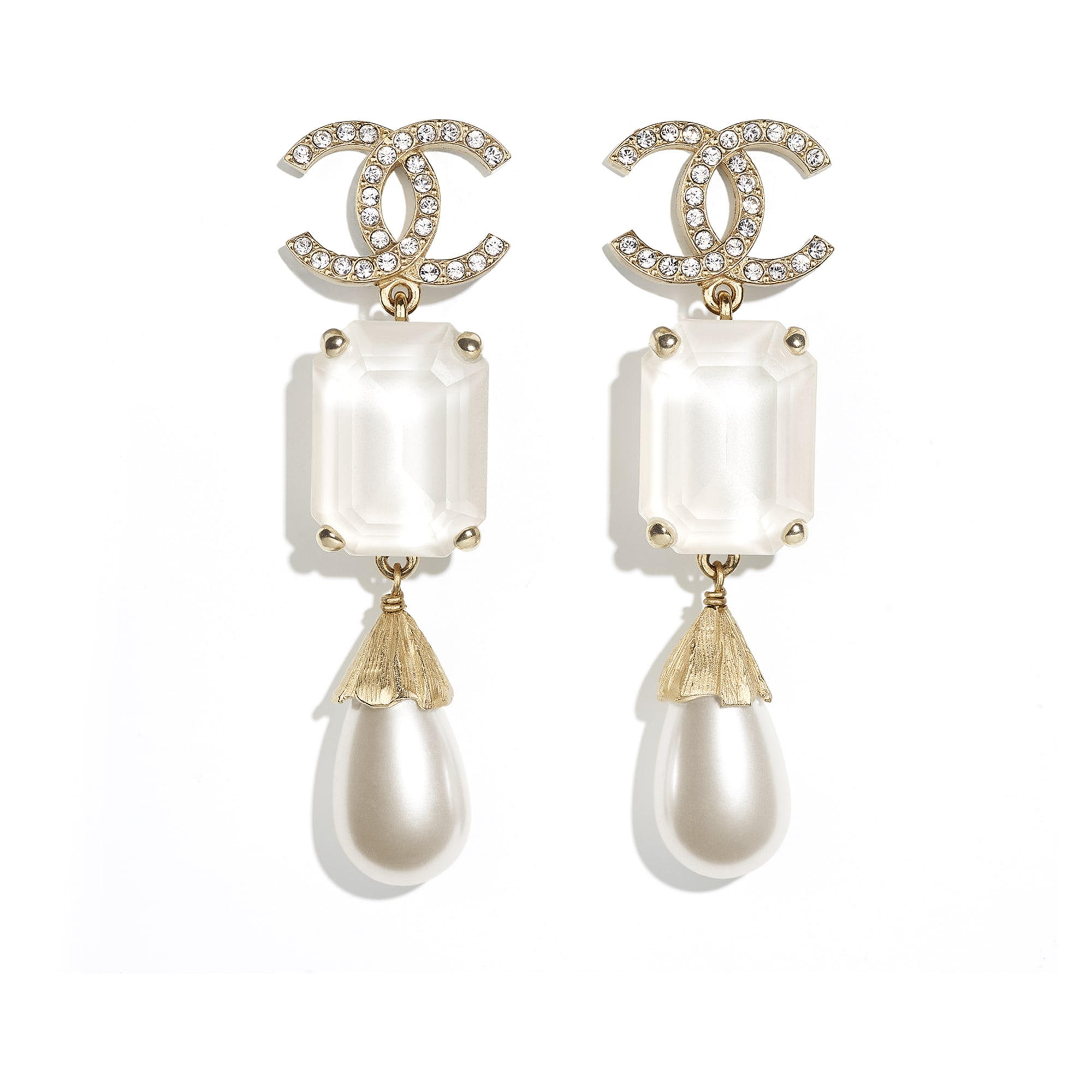 Earrings - Gold, Pearly White, White & Crystal - Metal, Imitation Pearls & Diamanté - CHANEL - Default view - see standard sized version