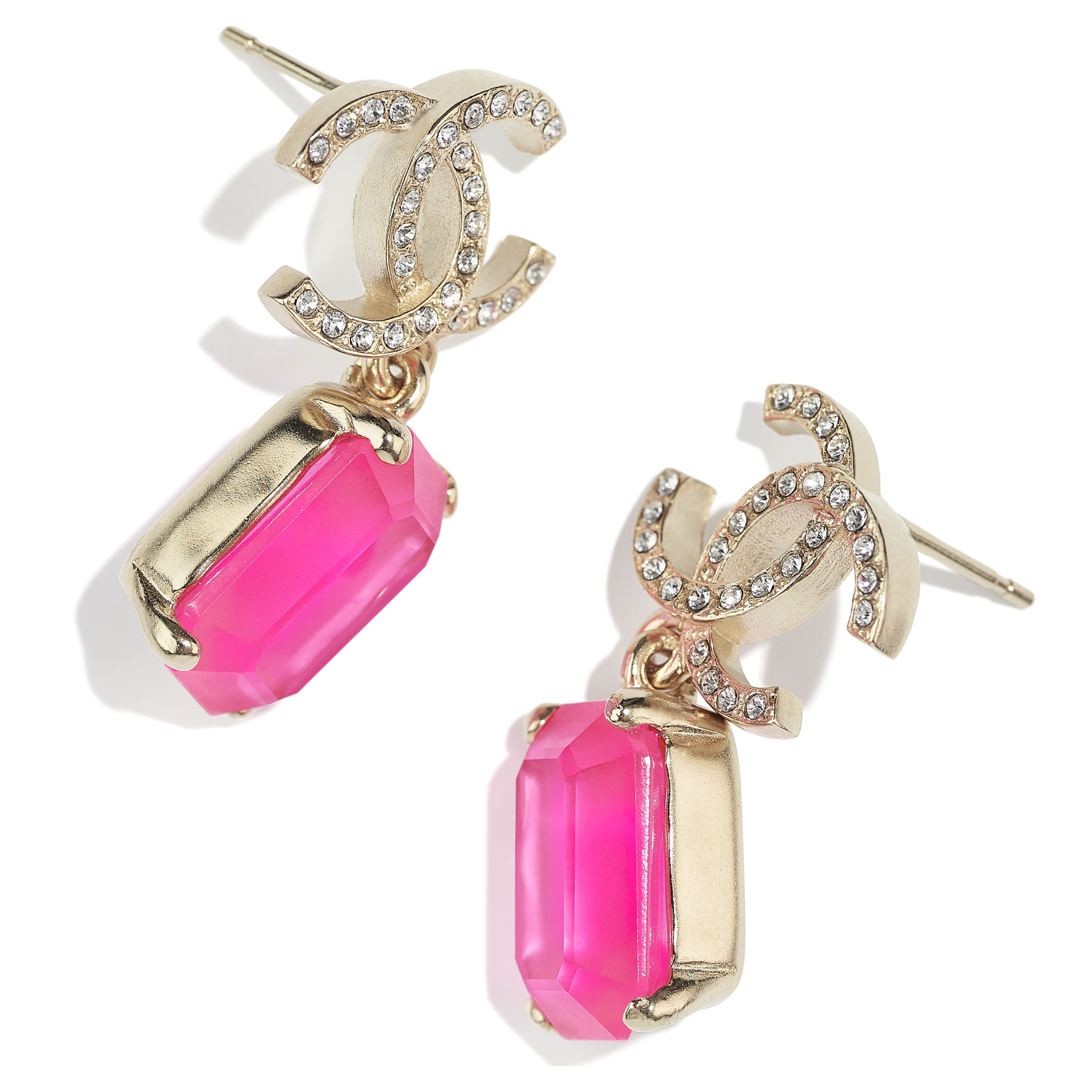 Earrings - Gold, Pink & Crystal - Metal & Diamantés - CHANEL - Alternative view - see standard sized version