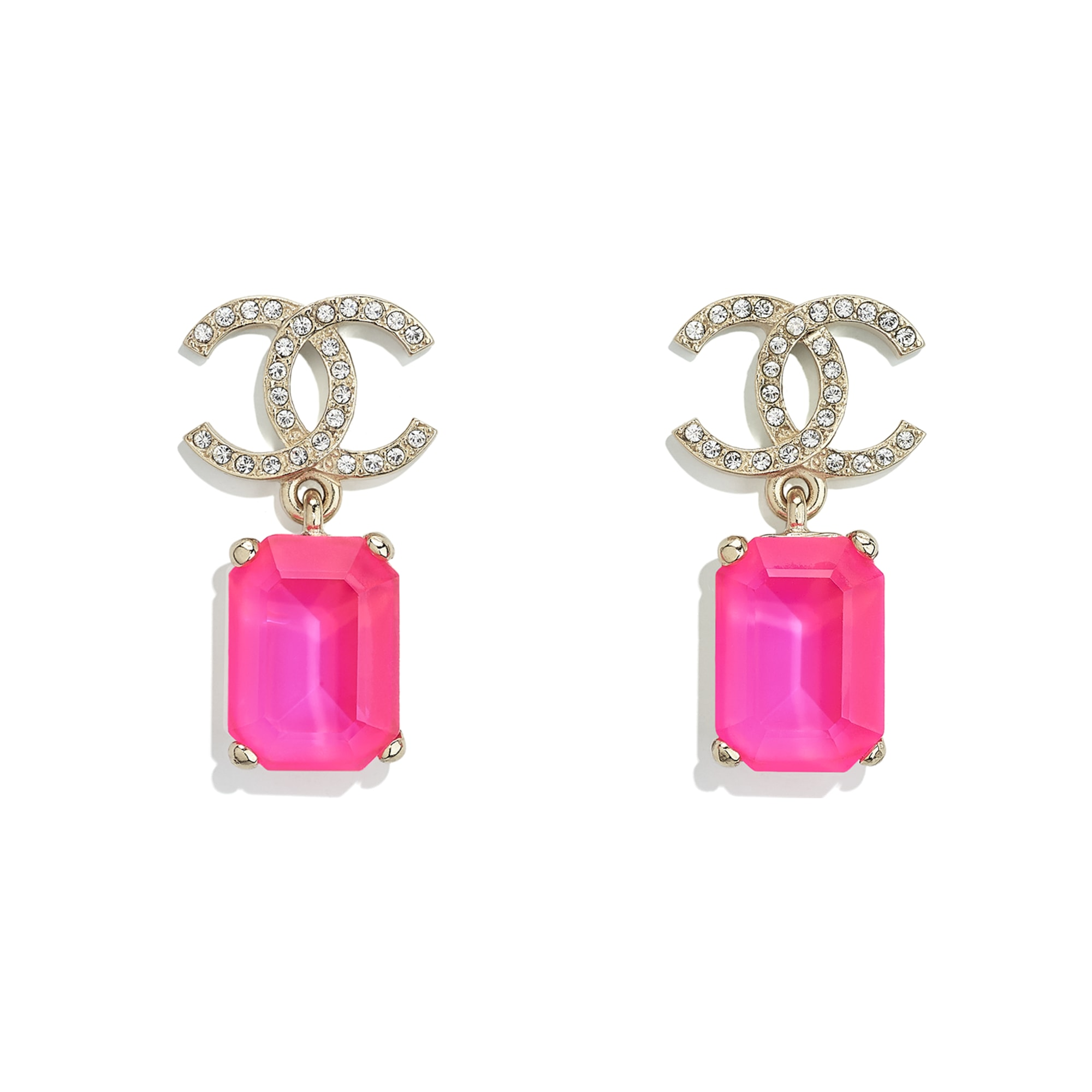 Earrings - Gold, Pink & Crystal - Metal & Diamantés - CHANEL - Default view - see standard sized version