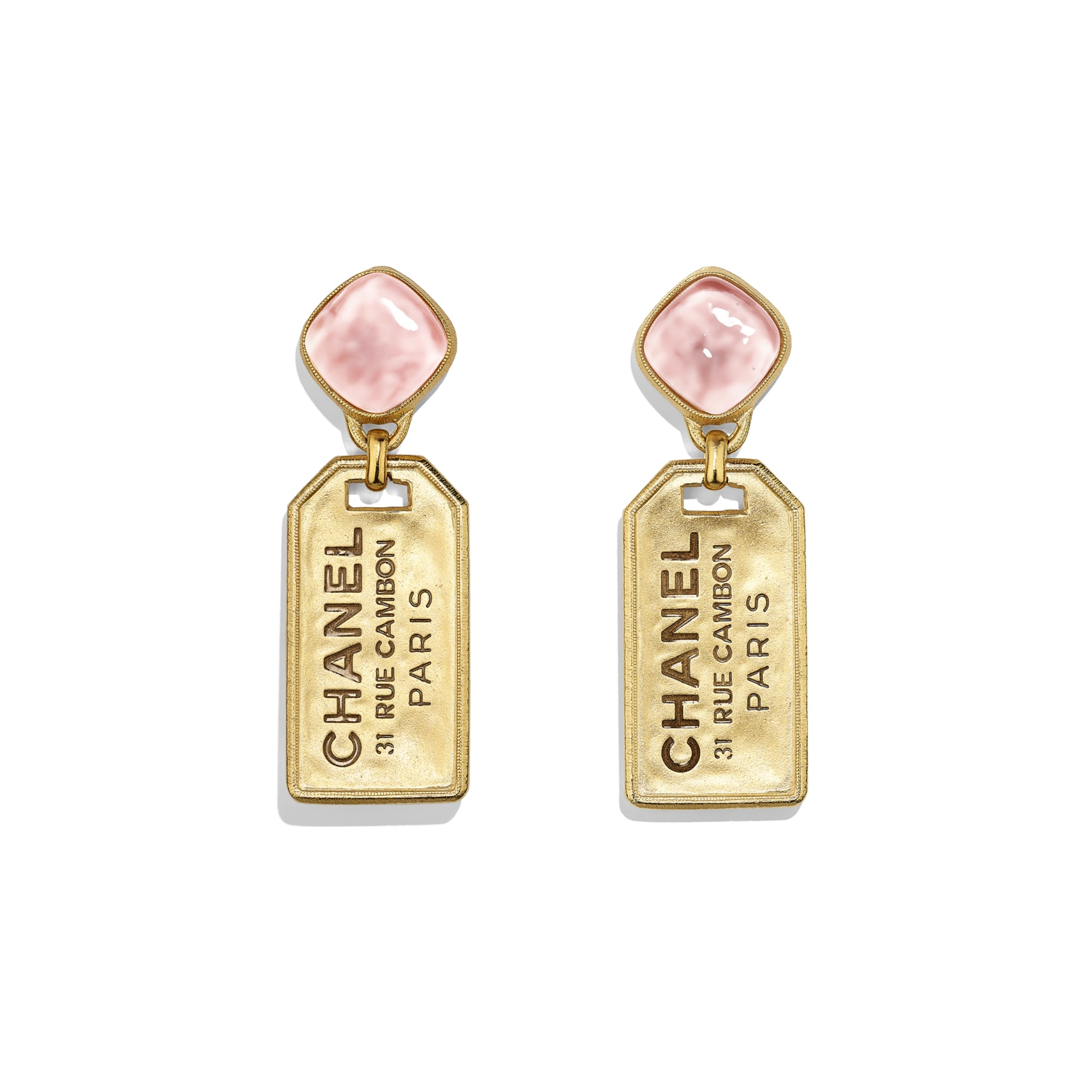 Earrings - Gold & Pink - Metal & Glass - Default view - see standard sized version