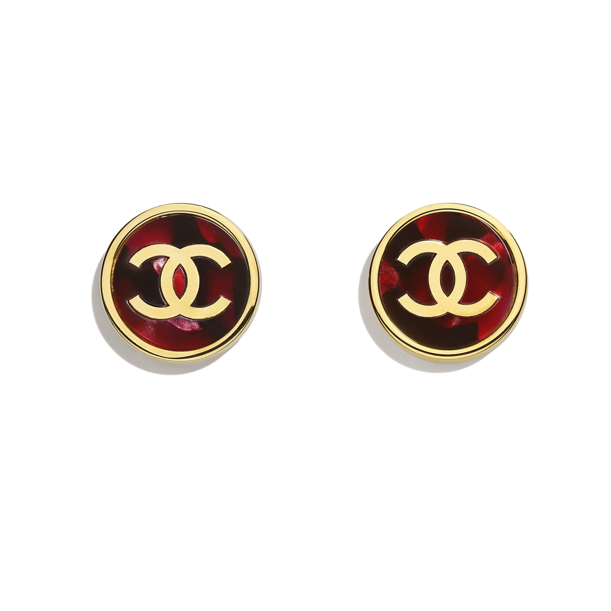 Earrings - Gold & Pink - Metal & Resin - CHANEL - Default view - see standard sized version