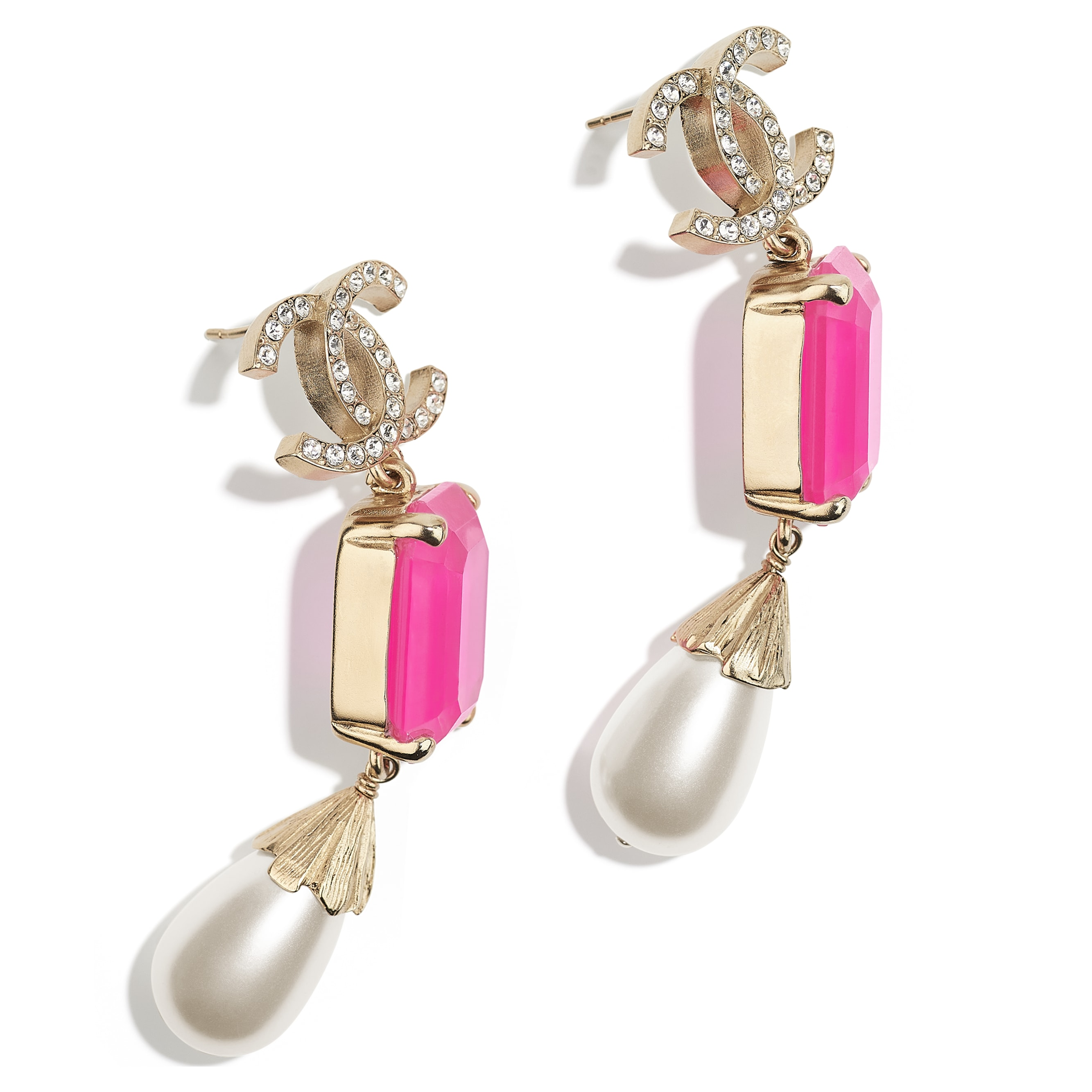 Earrings - Gold, Pink & Pearly White - Metal, Imitation Pearls & Diamanté - CHANEL - Alternative view - see standard sized version