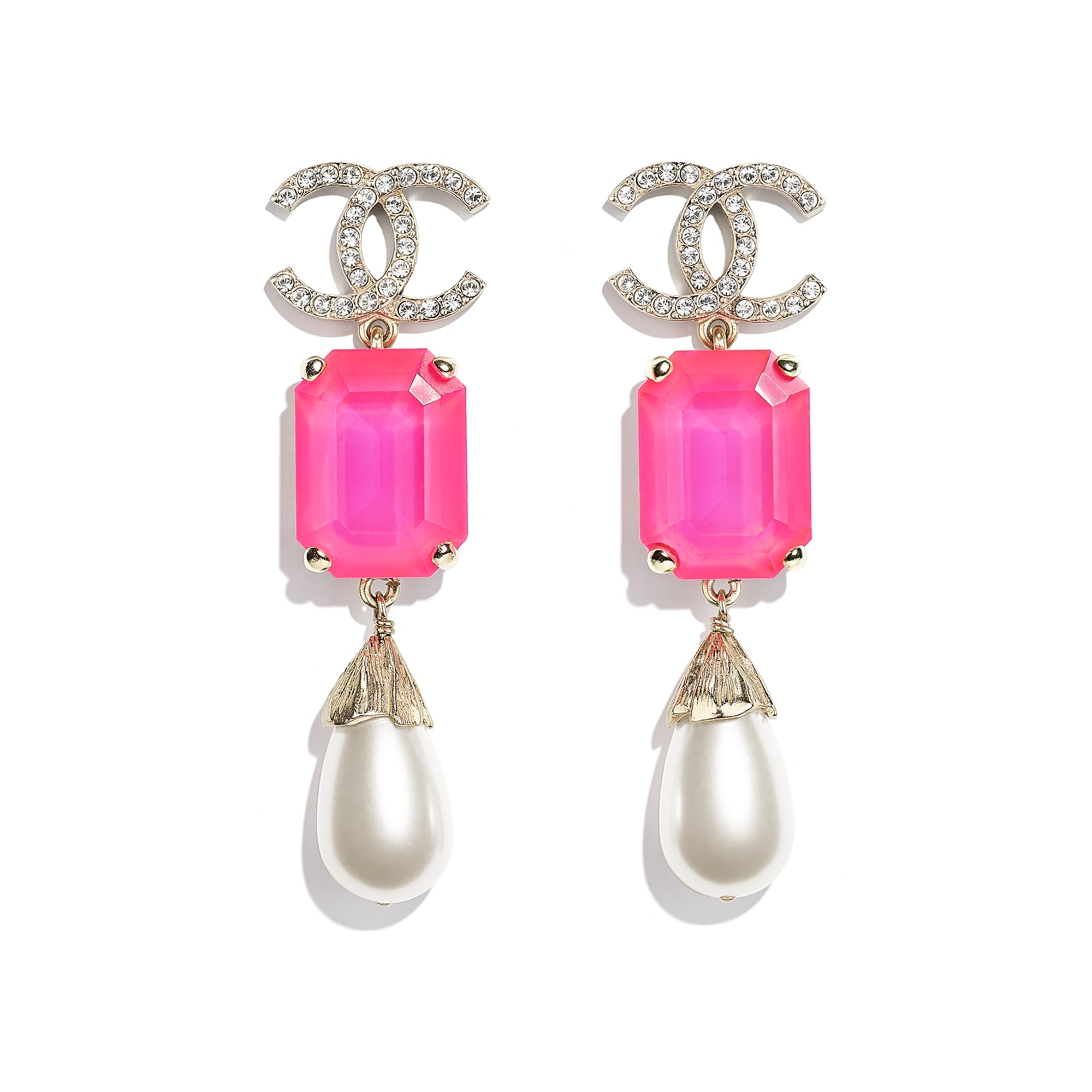 Earrings - Gold, Pink & Pearly White - Metal, Imitation Pearls & Diamanté - CHANEL - Default view - see standard sized version