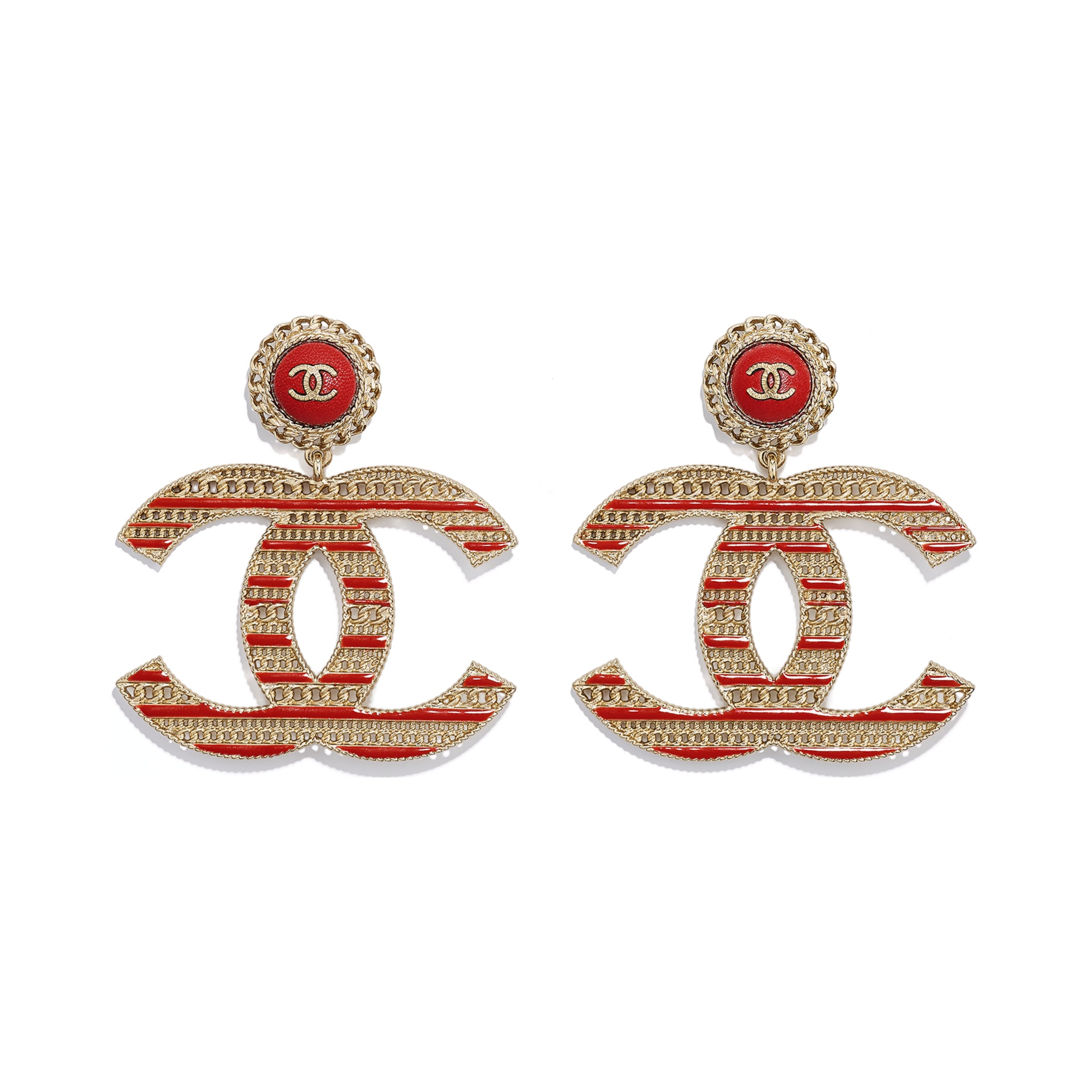 Earrings - Gold & Red - Metal & Calfskin - Default view - see standard sized version