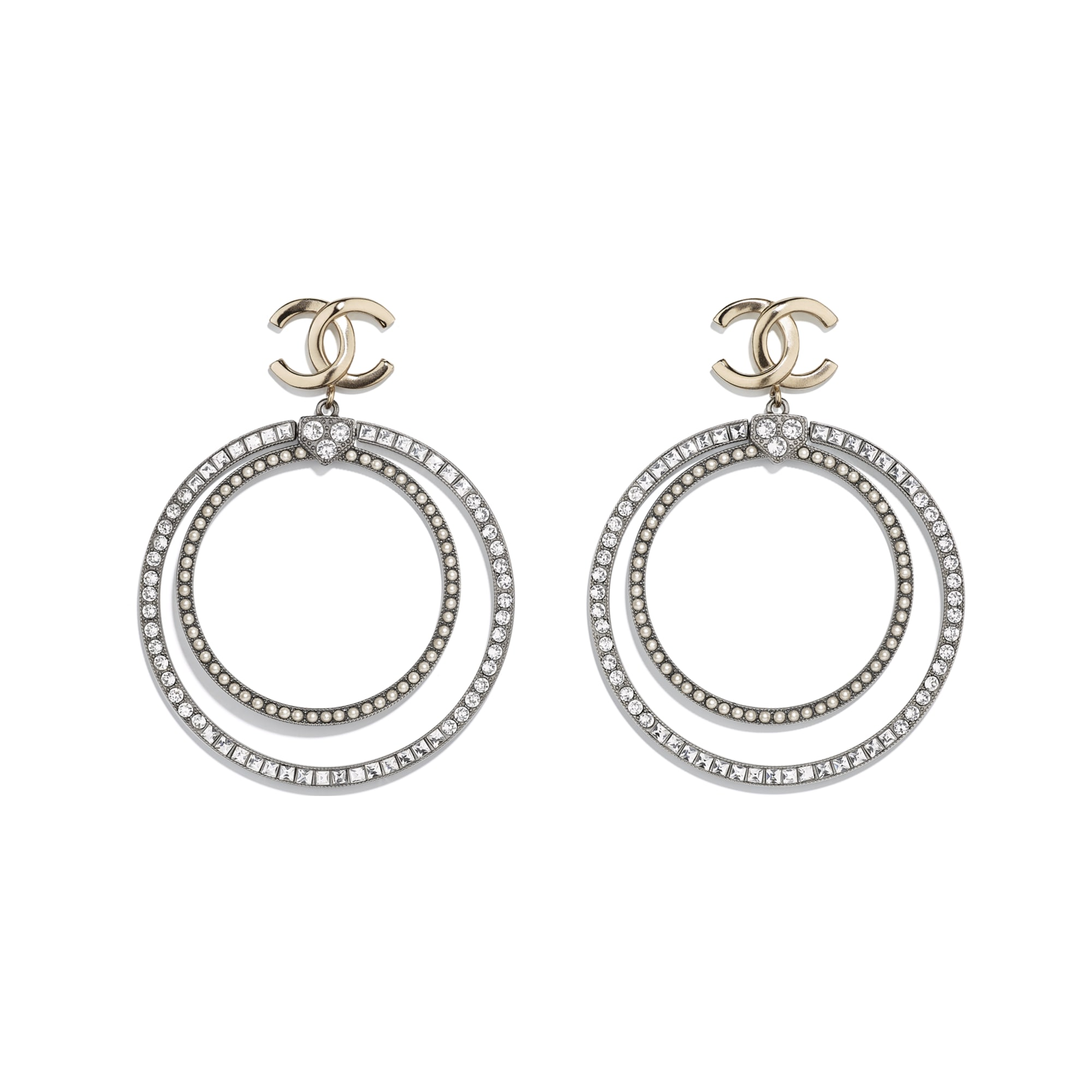 Earrings - Gold, Ruthenium, Pearly White & Crystal - Metal, Glass Pearls & Diamantés - Default view - see standard sized version