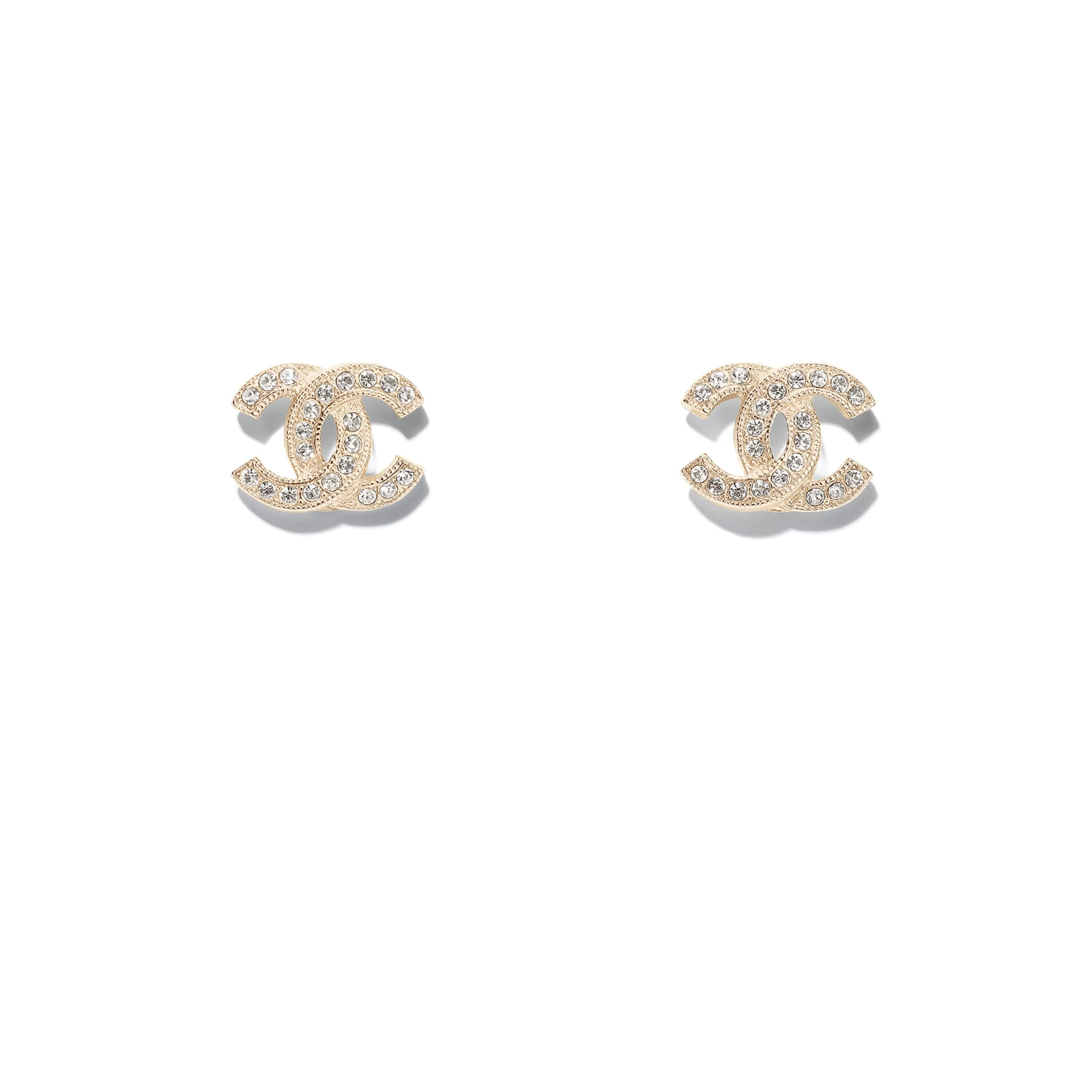 Earrings - Gold & Transparent - Metal & Diamantés - Default view - see standard sized version