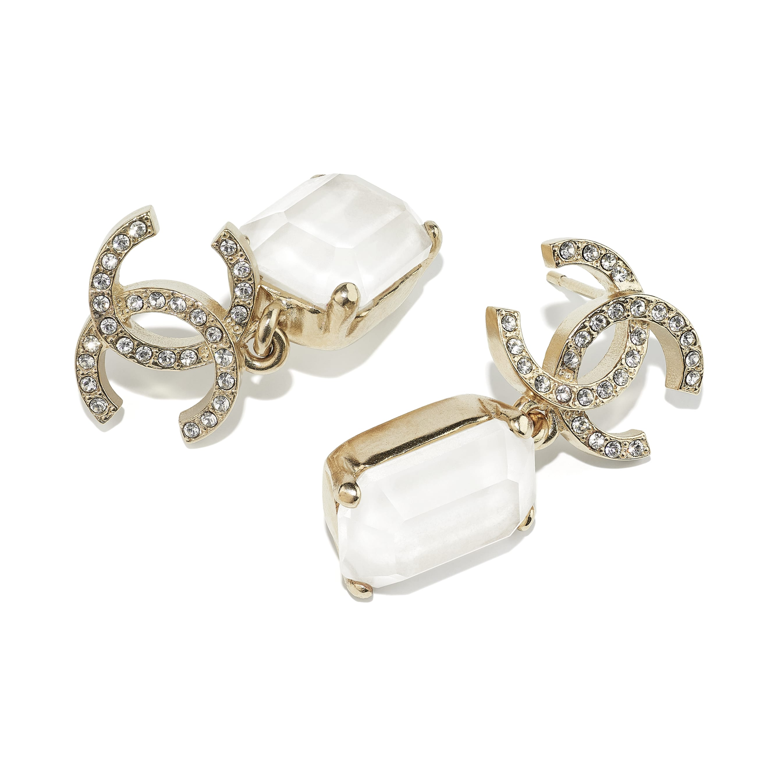Earrings - Gold, White & Crystal - Metal & Diamantés - CHANEL - Alternative view - see standard sized version