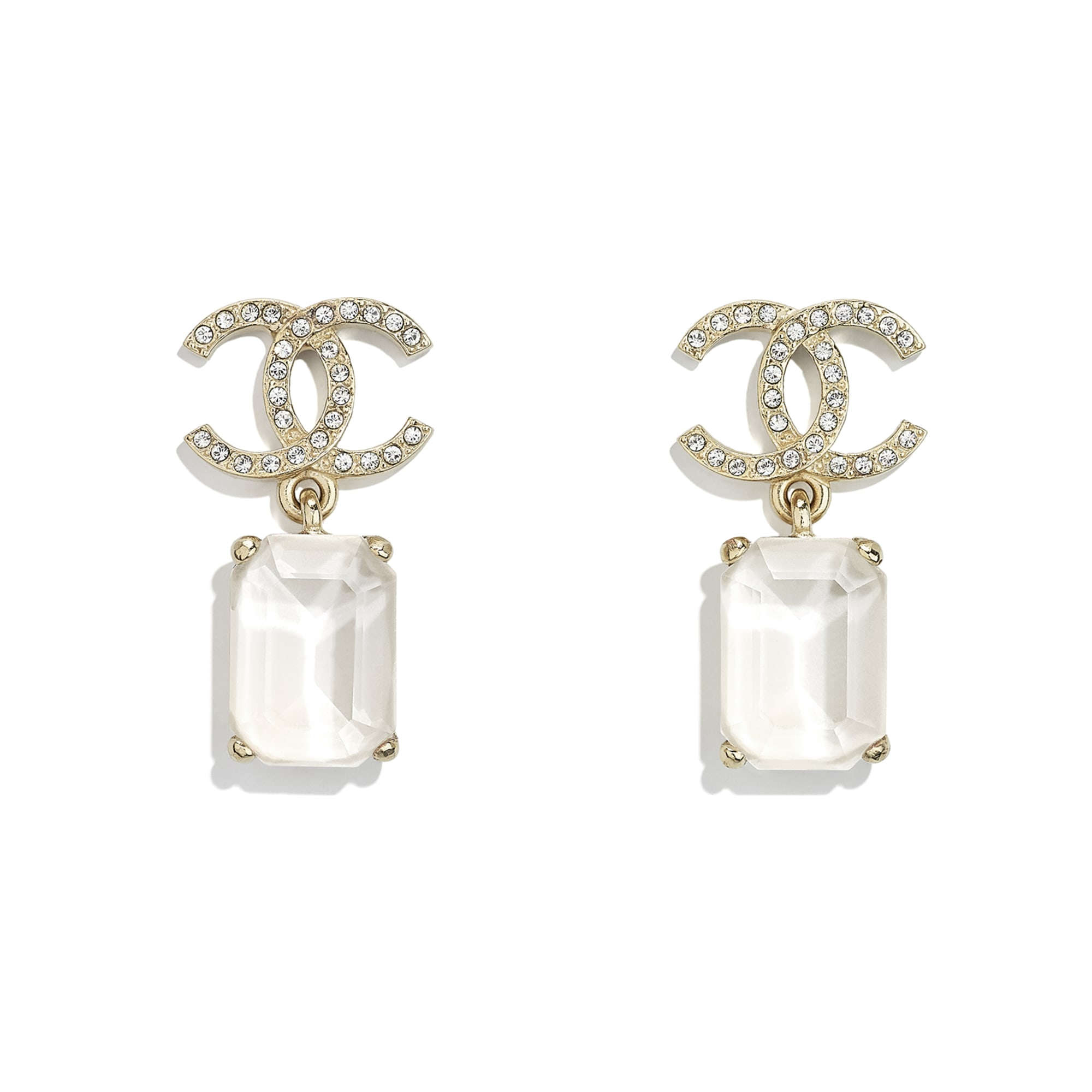 Earrings - Gold, White & Crystal - Metal & Diamantés - CHANEL - Default view - see standard sized version