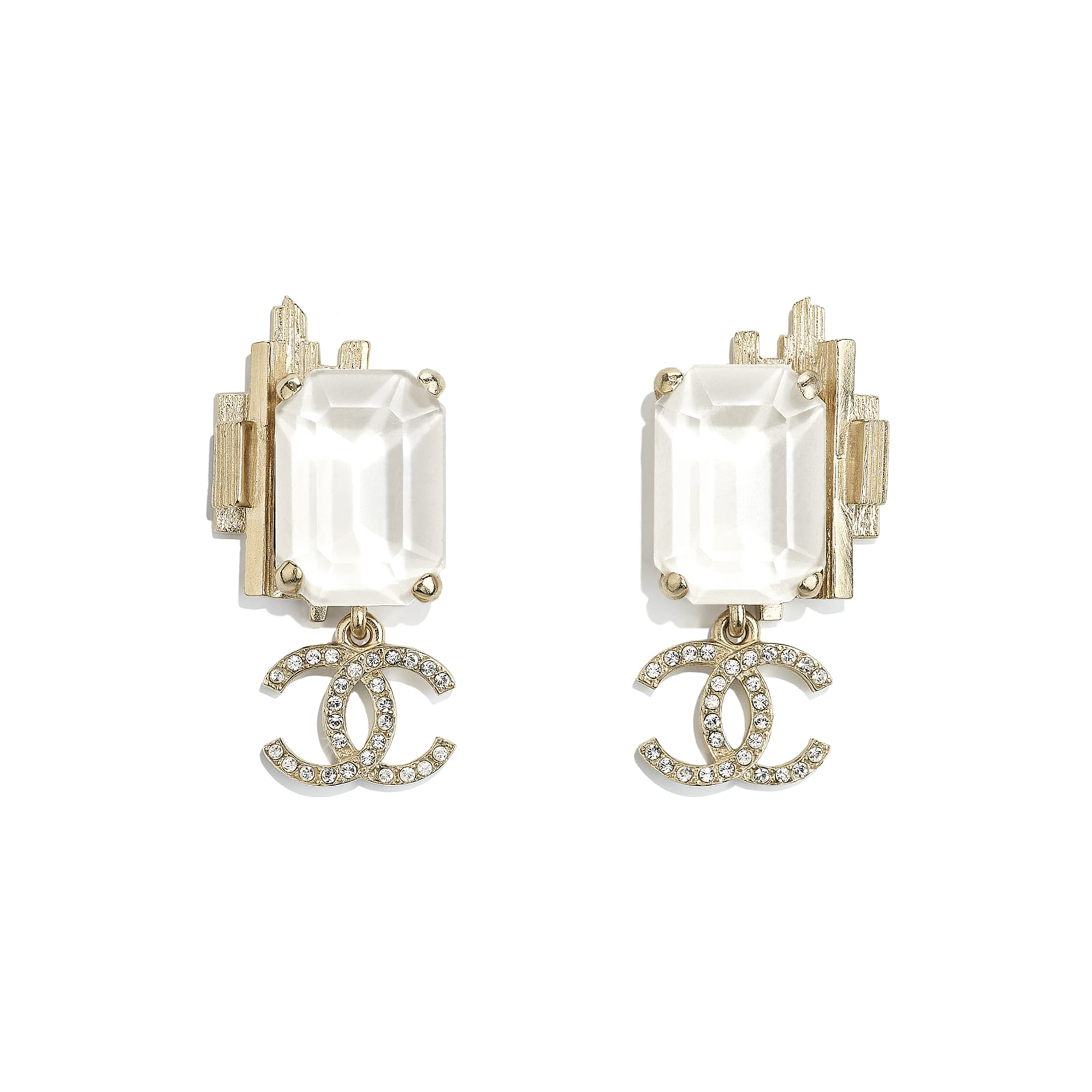 Earrings - Gold, White & Crystal - Metal & Strass - CHANEL - Default view - see standard sized version