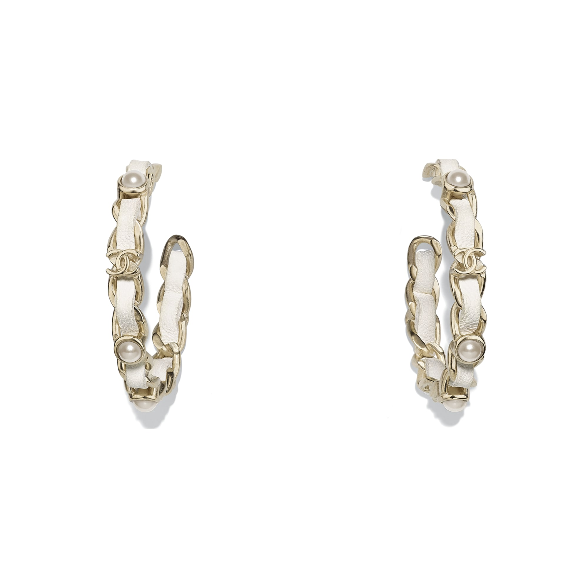 Earrings - Gold & White - Metal, Lambskin & Imitation Pearls - Default view - see standard sized version