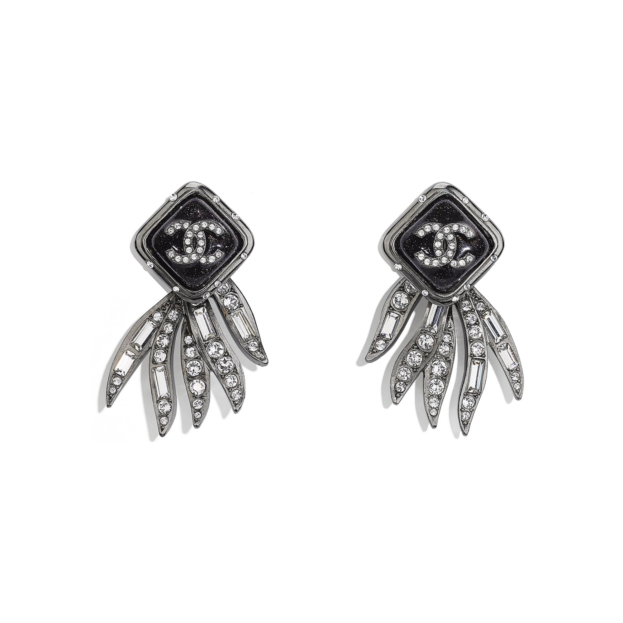 Earrings - Ruthenium, Black & Crystal - Metal & Diamantés - CHANEL - Default view - see standard sized version