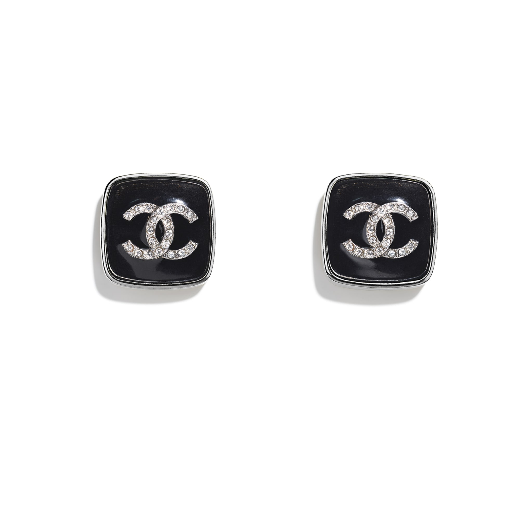 Earrings - Ruthenium, Black & Crystal - Metal & Diamantés - CHANEL - Default view - see standard sized version