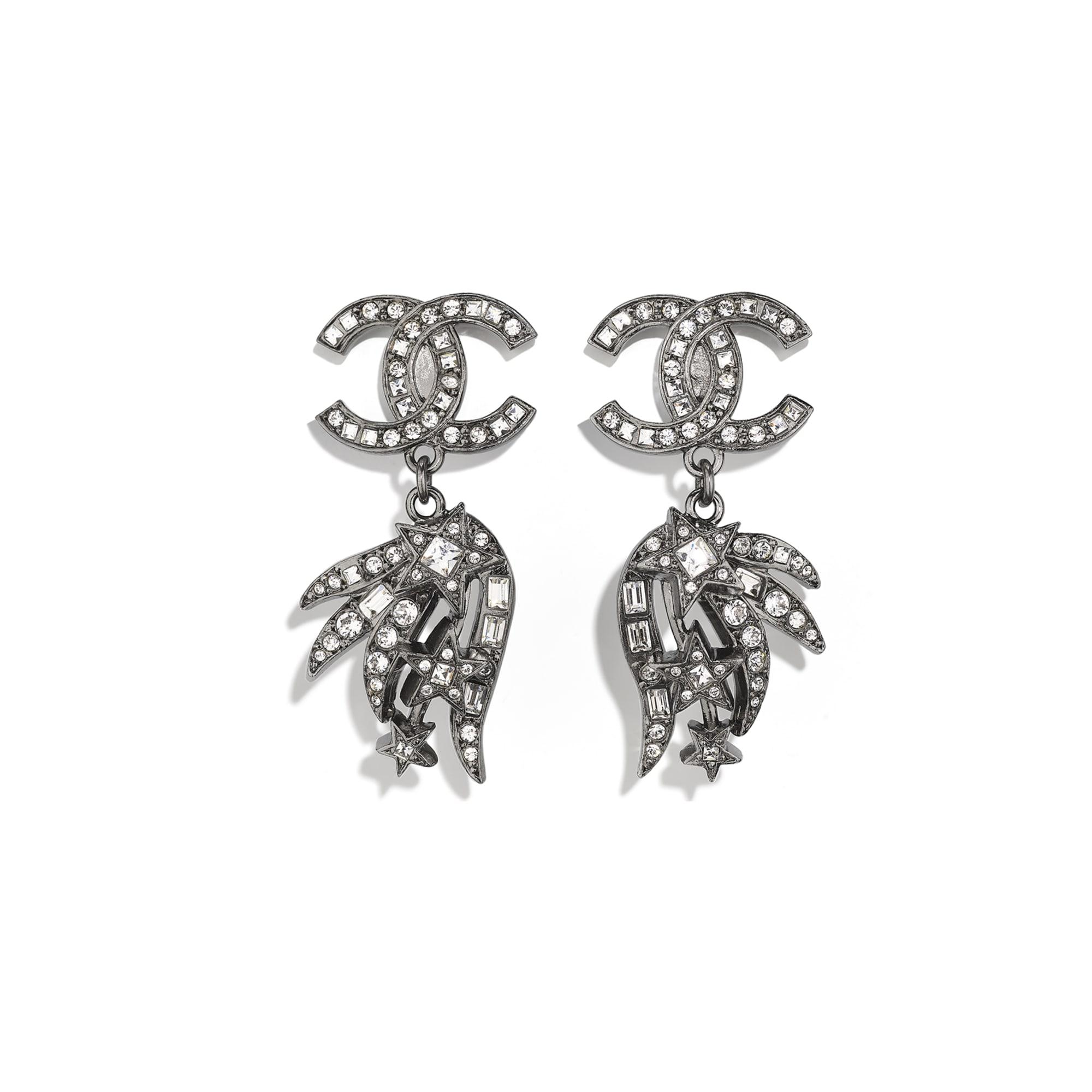 Earrings - Ruthenium & Crystal - Metal & Diamantés - CHANEL - Default view - see standard sized version
