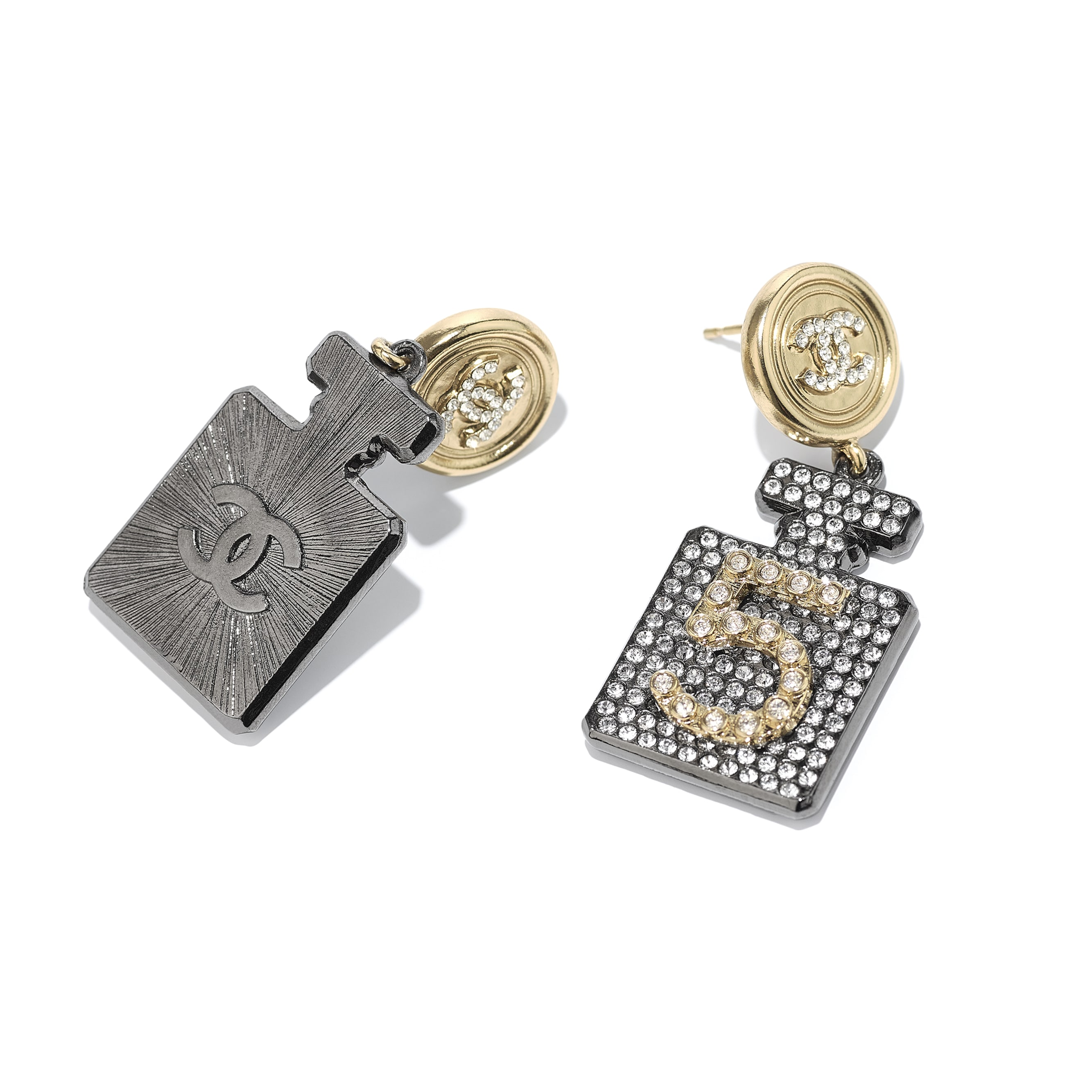 Earrings - Ruthenium, Gold & Crystal - Metal & Diamantés - CHANEL - Alternative view - see standard sized version