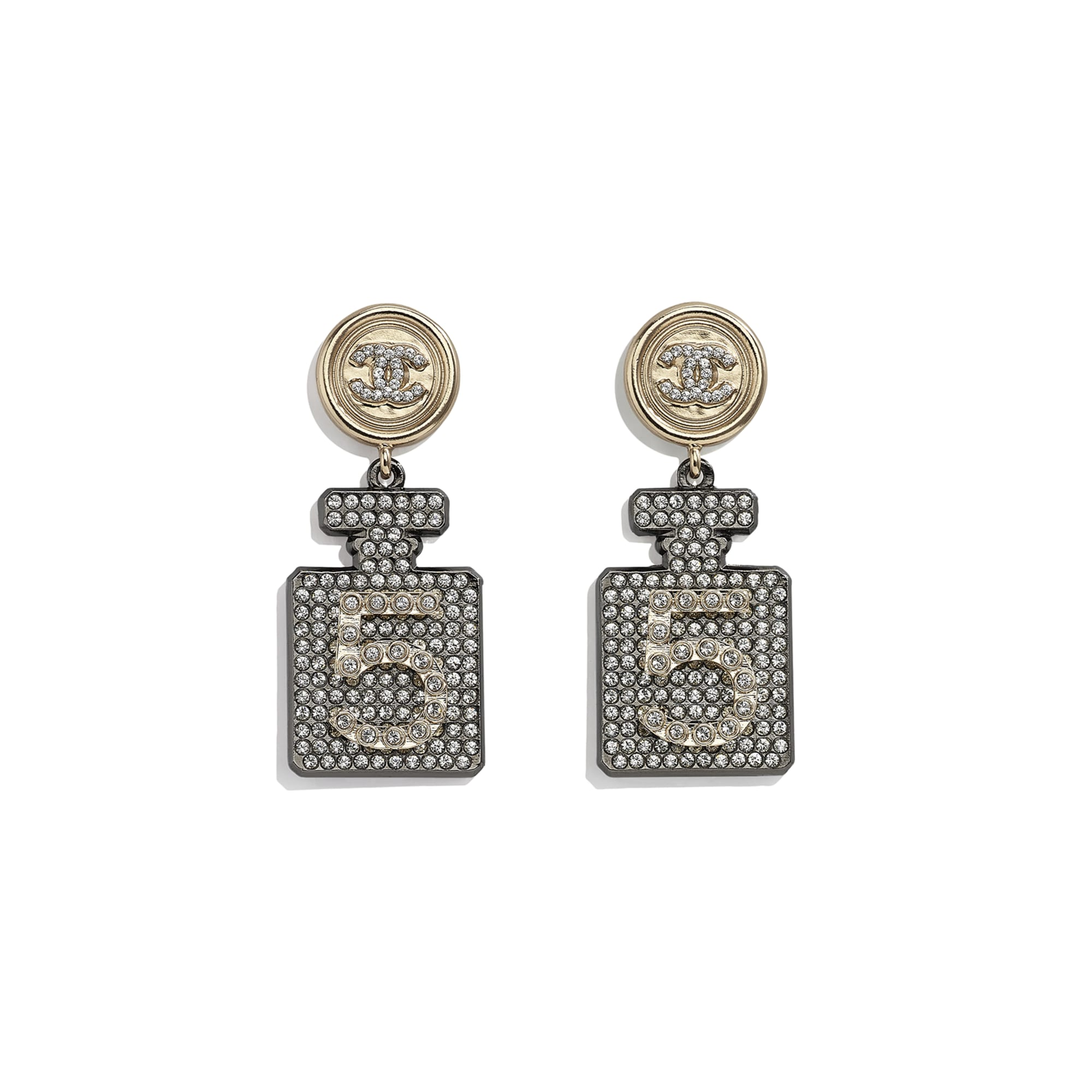 Earrings - Ruthenium, Gold & Crystal - Metal & Diamantés - CHANEL - Default view - see standard sized version