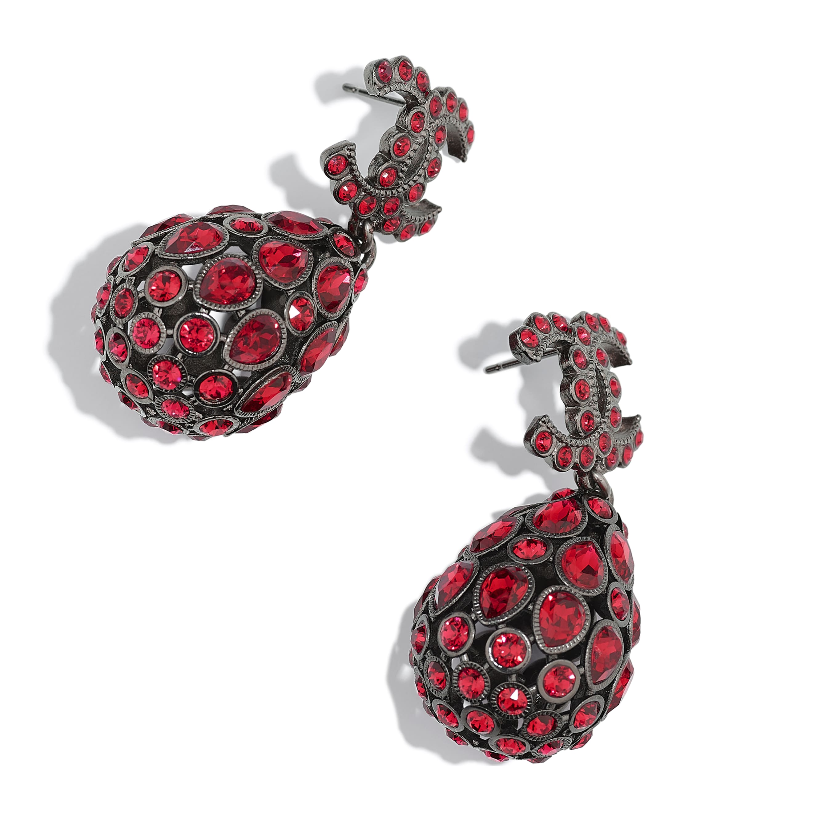 Earrings - Ruthenium & Red - Metal & Diamantés - Alternative view - see standard sized version