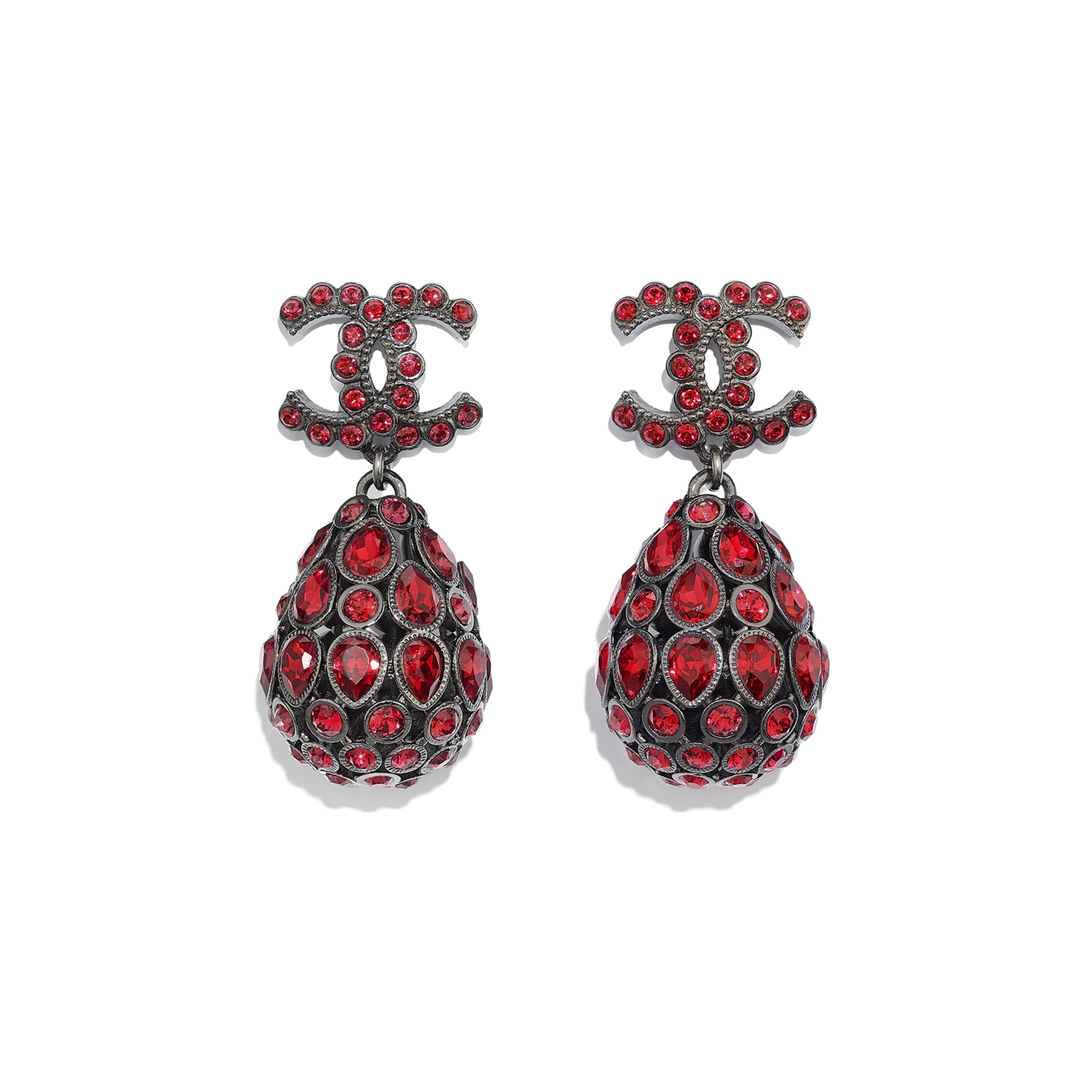 Earrings - Ruthenium & Red - Metal & Diamantés - Default view - see standard sized version