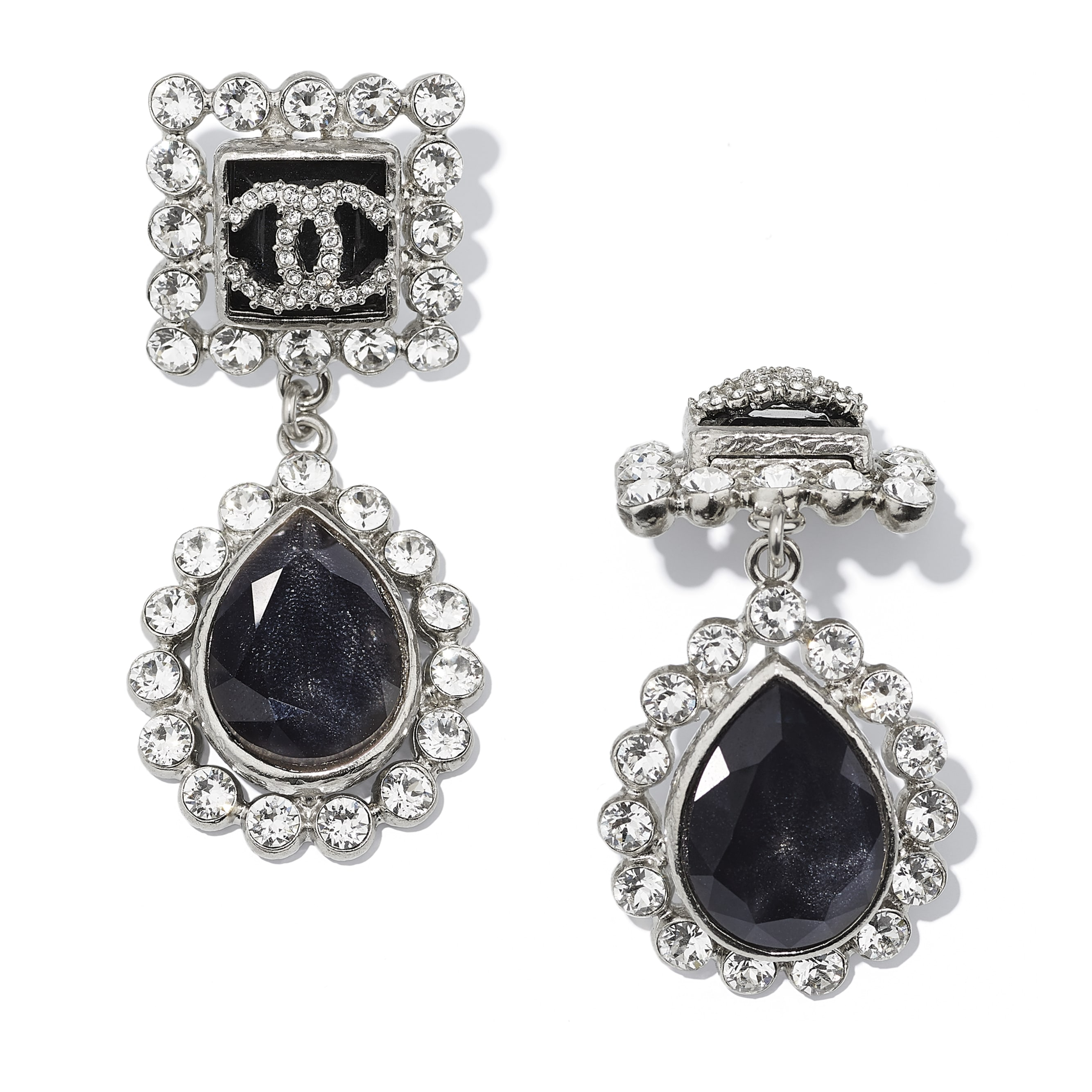 Earrings - Silver, Black, Blue & Crystal - Metal, Glass & Diamanté - CHANEL - Alternative view - see standard sized version