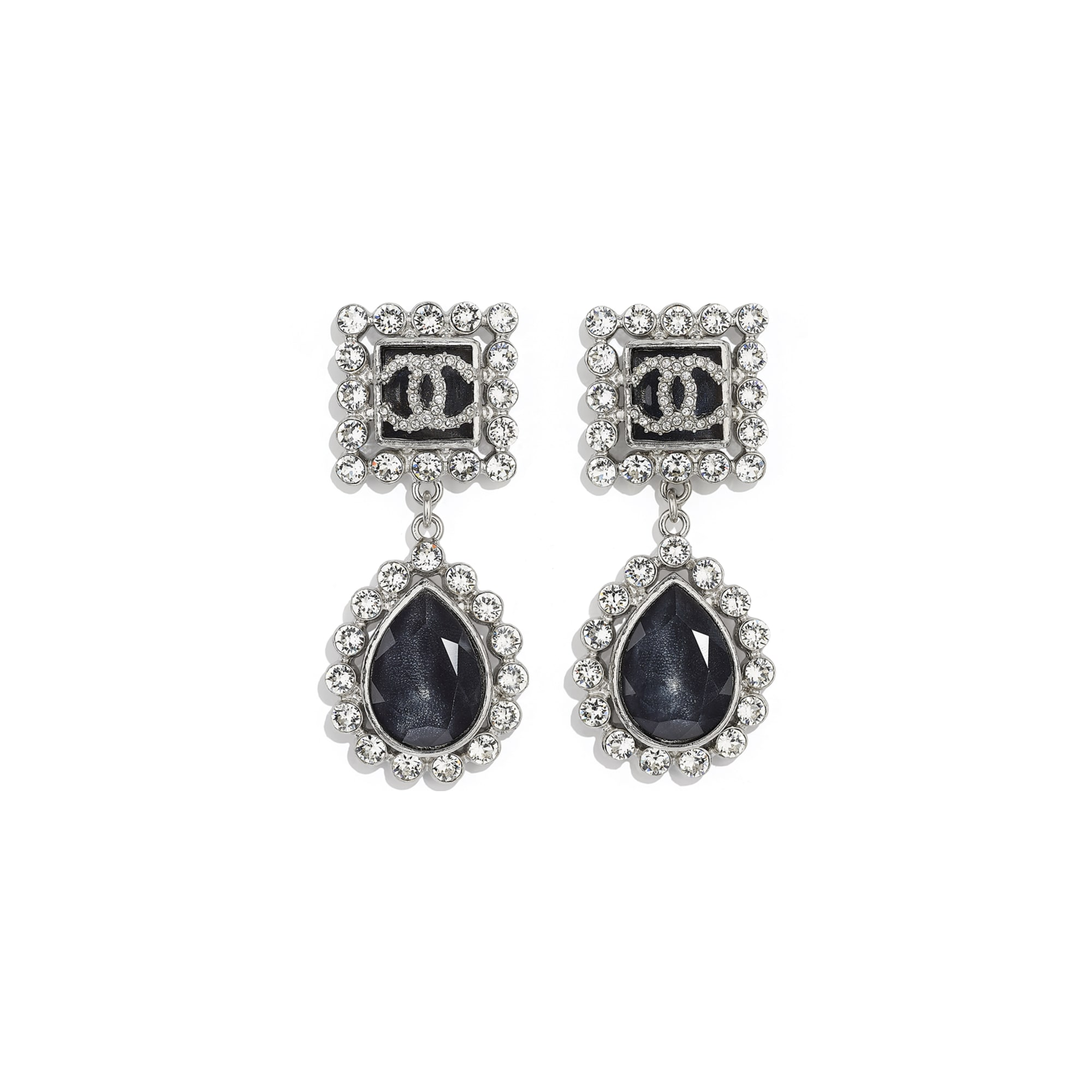 Earrings - Silver, Black, Blue & Crystal - Metal, Glass & Diamanté - CHANEL - Default view - see standard sized version