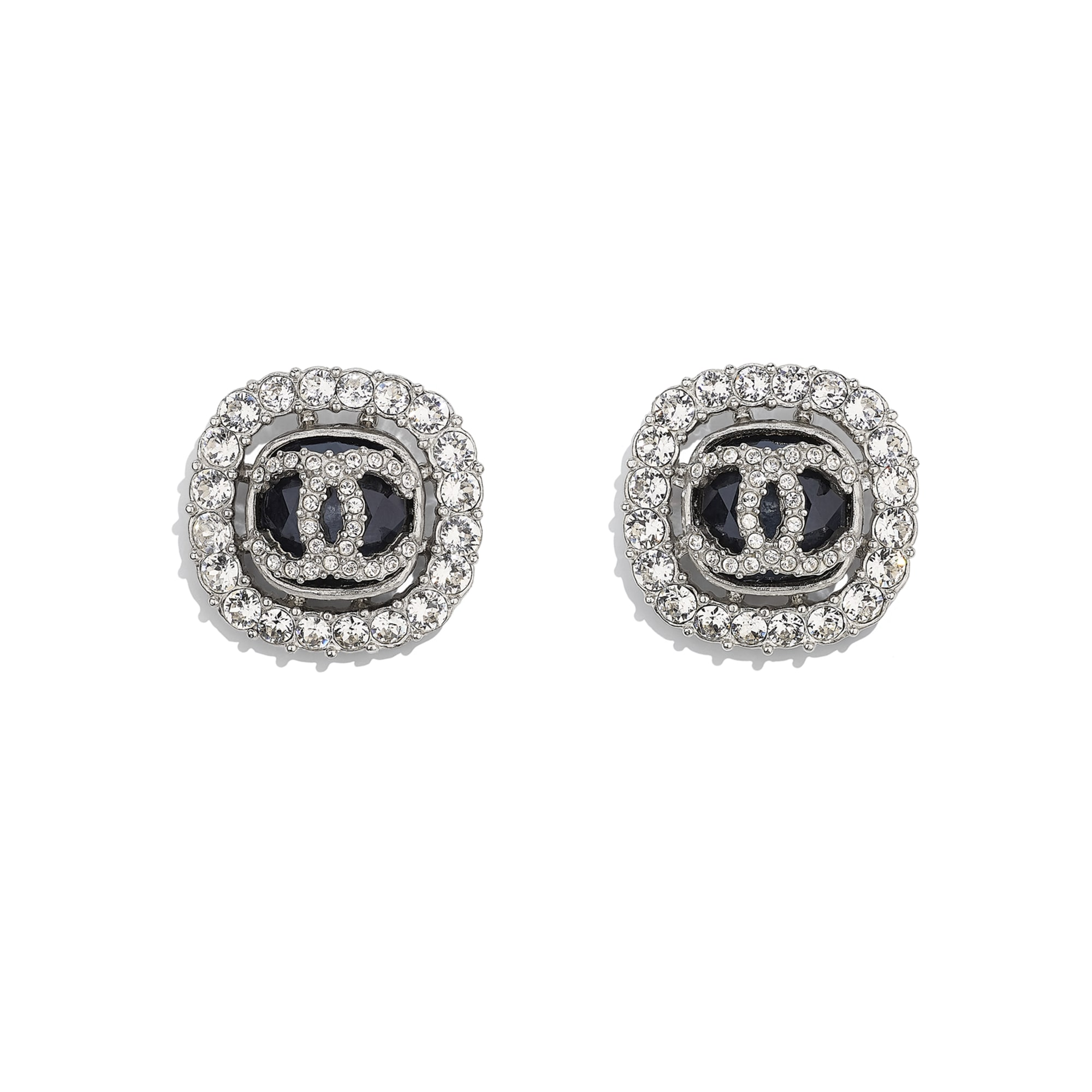 Earrings - Silver, Black & Crystal - Metal & Diamantés - CHANEL - Default view - see standard sized version