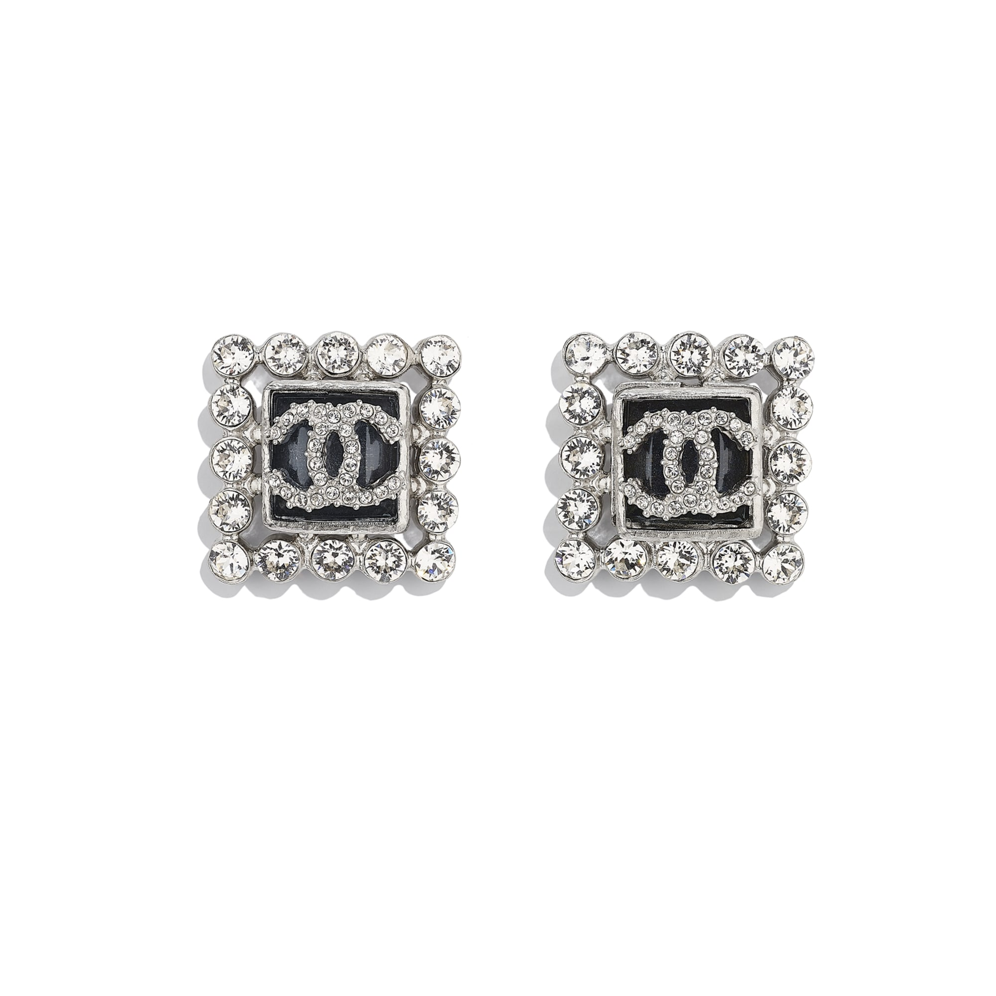 Earrings - Silver, Blue & Crystal - Metal, Glass & Diamanté - CHANEL - Default view - see standard sized version