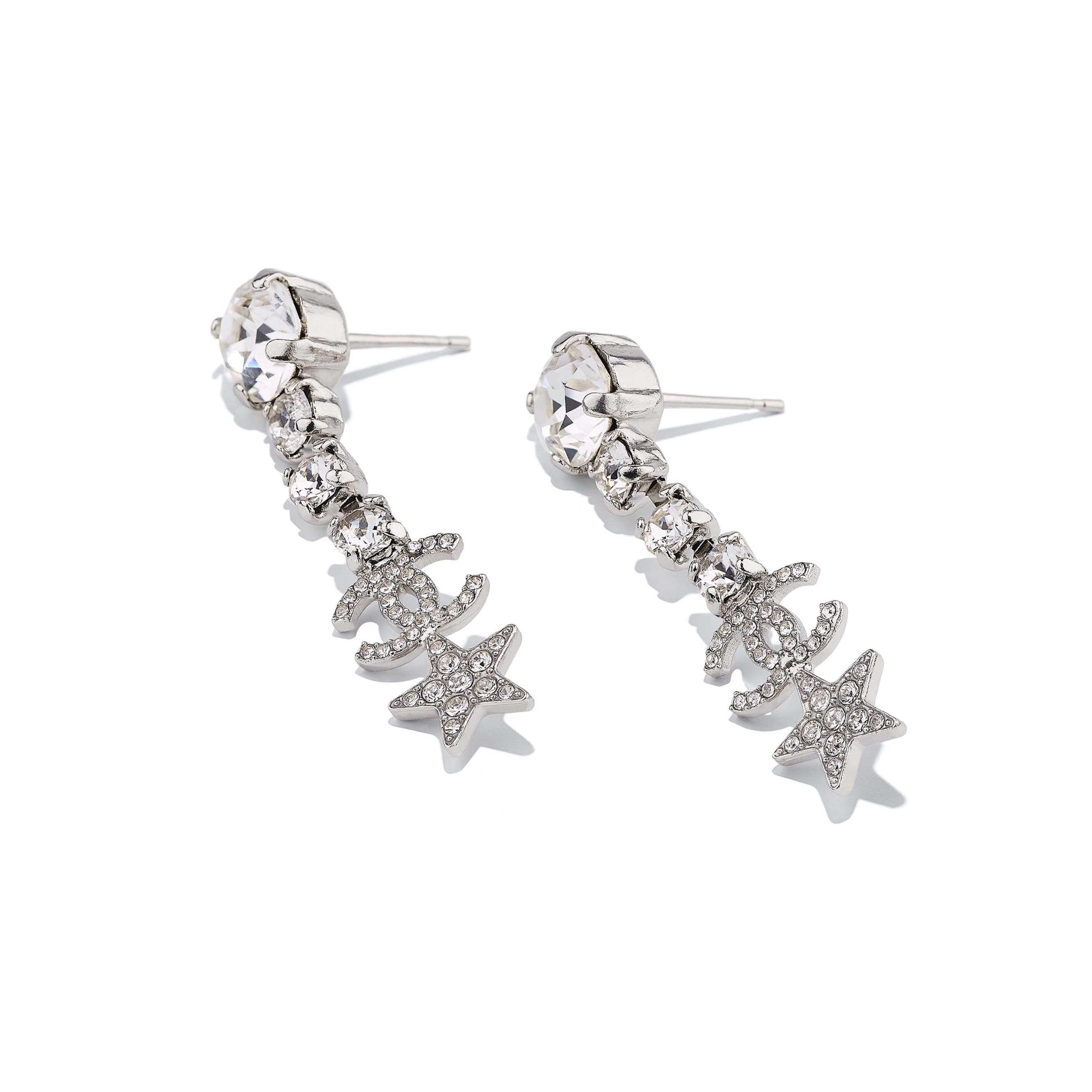 Earrings - Silver & Crystal - Metal & Strass - CHANEL - Alternative view - see standard sized version
