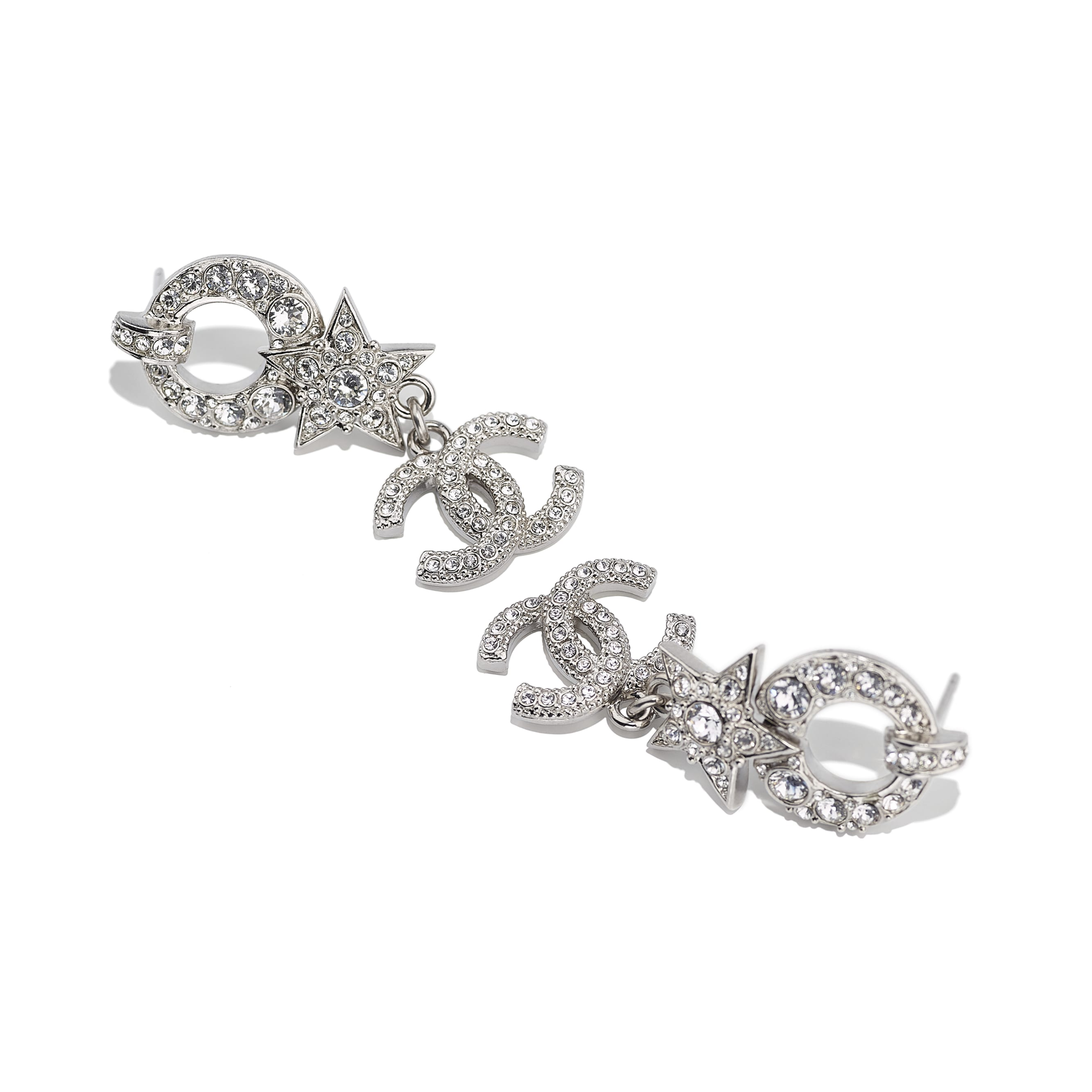 Earrings - Silver & Crystal - Metal & Diamantés - Alternative view - see standard sized version