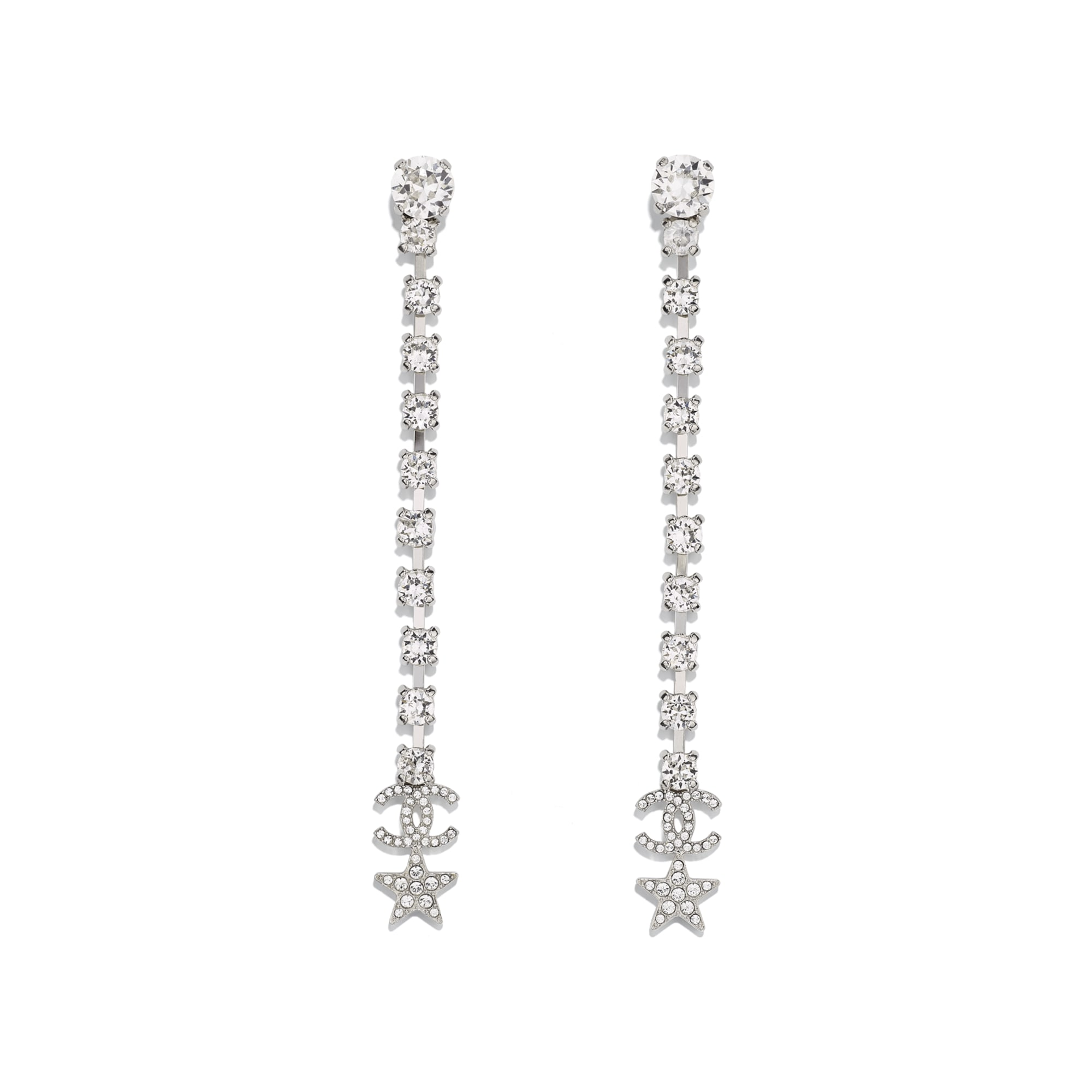 Earrings - Silver & Crystal - Metal & Diamantés - Default view - see standard sized version