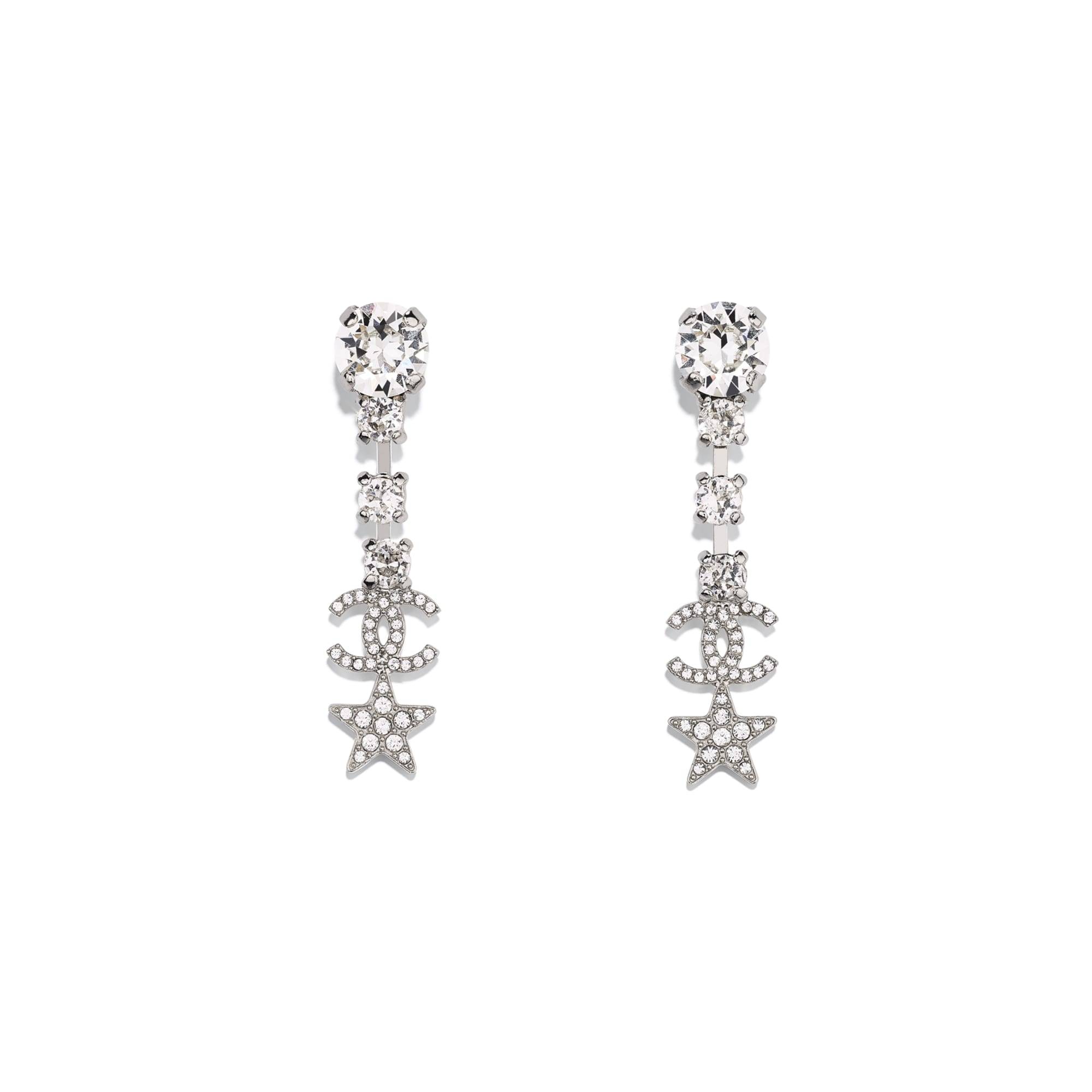 Earrings - Silver & Crystal - Metal & Strass - CHANEL - Default view - see standard sized version