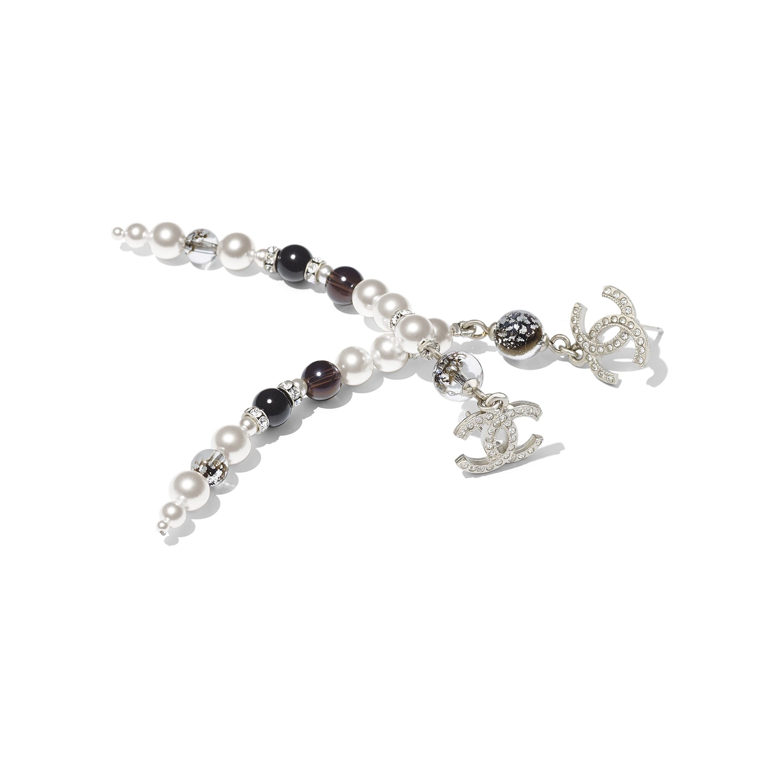 Earrings - Silver, Pearly White, Black & Crystal - Metal, Natural Stones, Glass Pearls & Strass - Alternative view - see standard sized version